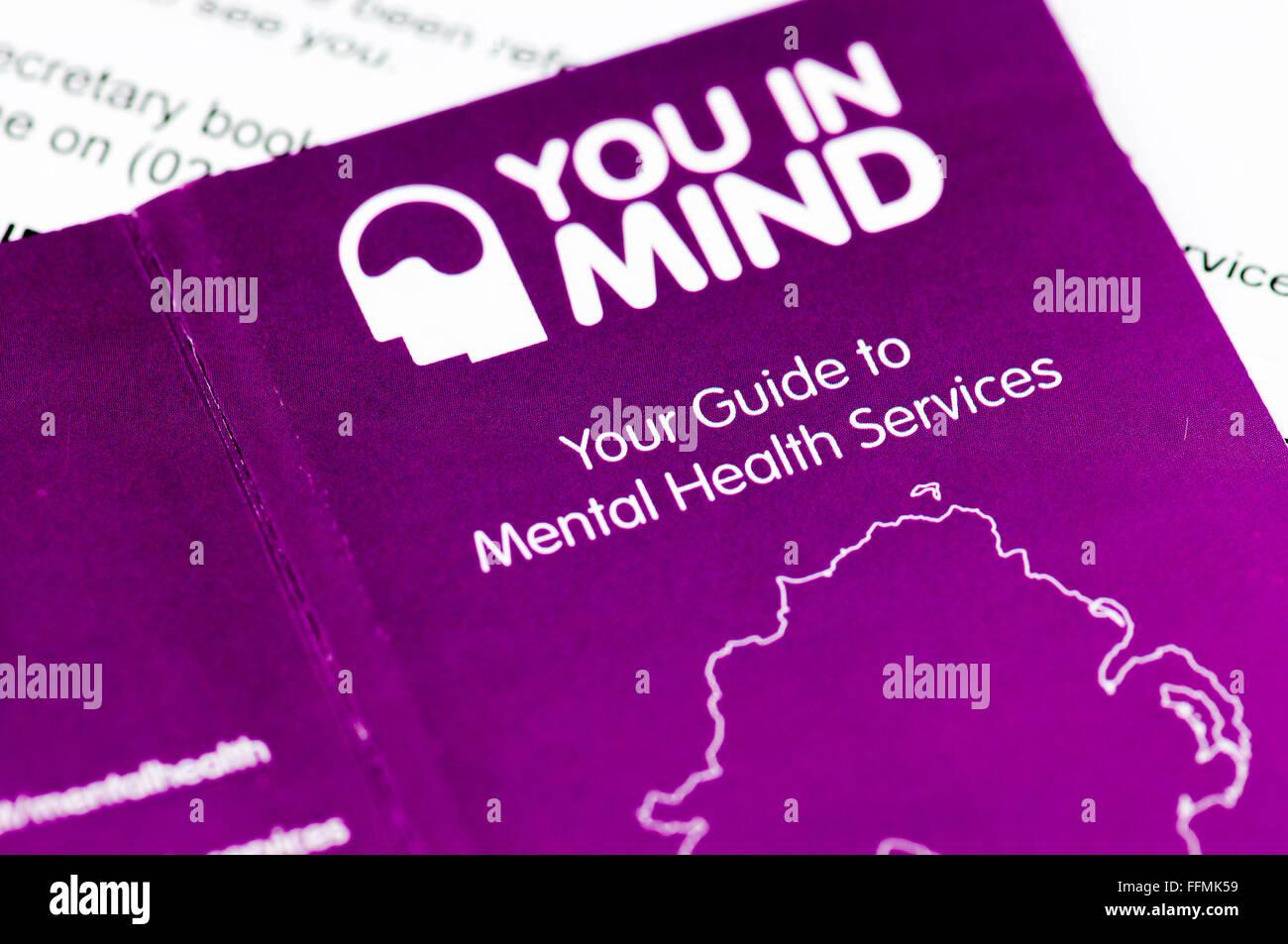 Selbsthilfe-Broschüre herausgegeben vom Northern Ireland NHS für psychiatrische Dienste. Stockbild