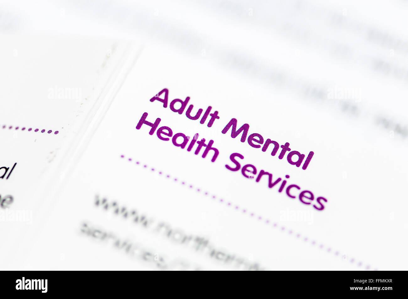 Verzeichnis der Erwachsenen psychiatrischen Diensten für Nordirland. Stockbild