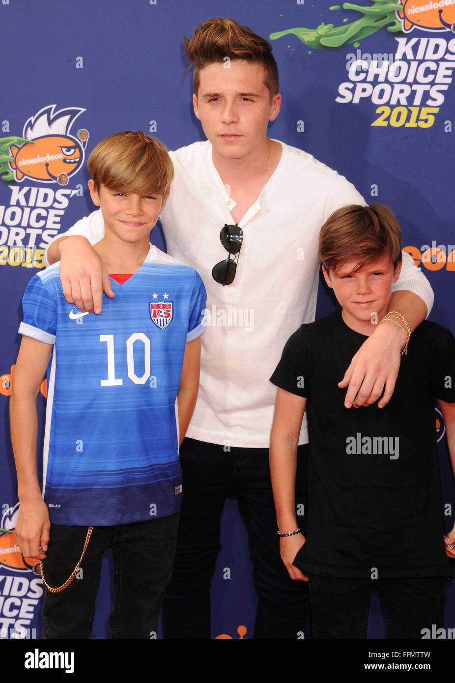 Romeo Beckham, Brooklyn Beckham Cruz Beckham, 16.07.2015 Stockbild