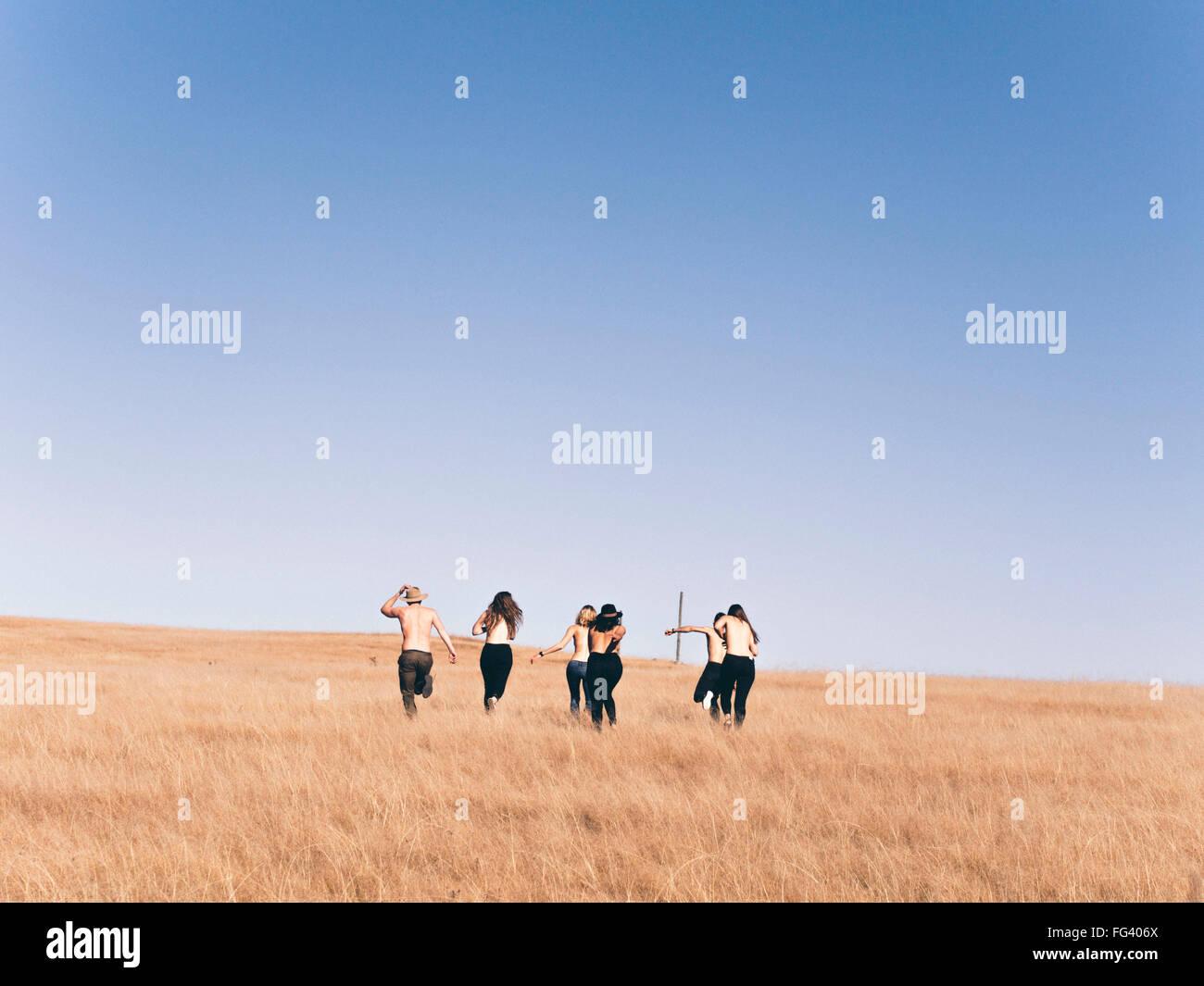 Rückansicht von Männern und Frauen laufen auf Feld gegen klaren Himmel Stockbild