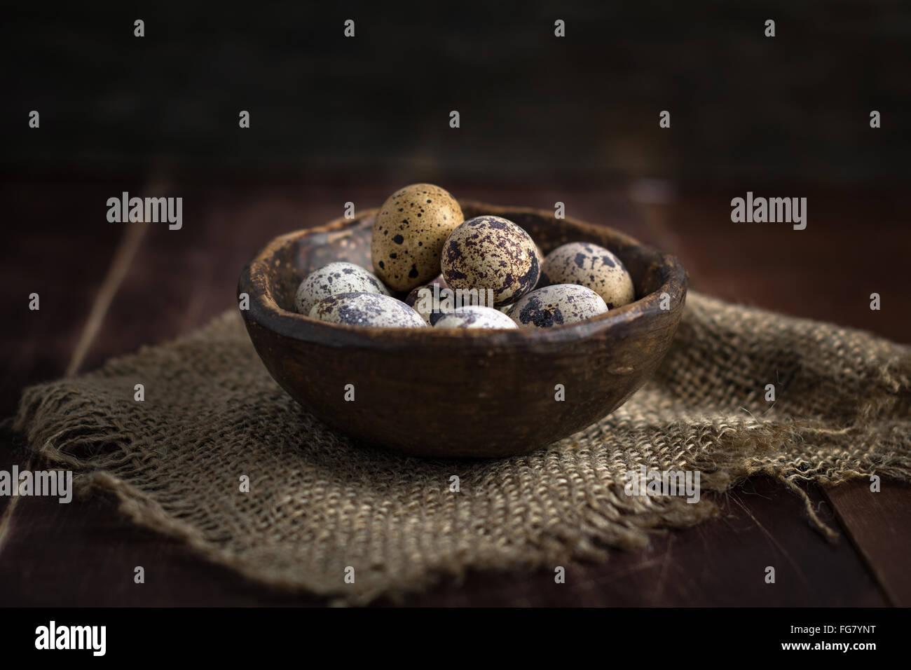 Frische Bio Wachteleier in Keramikschale auf Leinen Lappen. Natürliches Licht, selektiven Fokus Stockbild