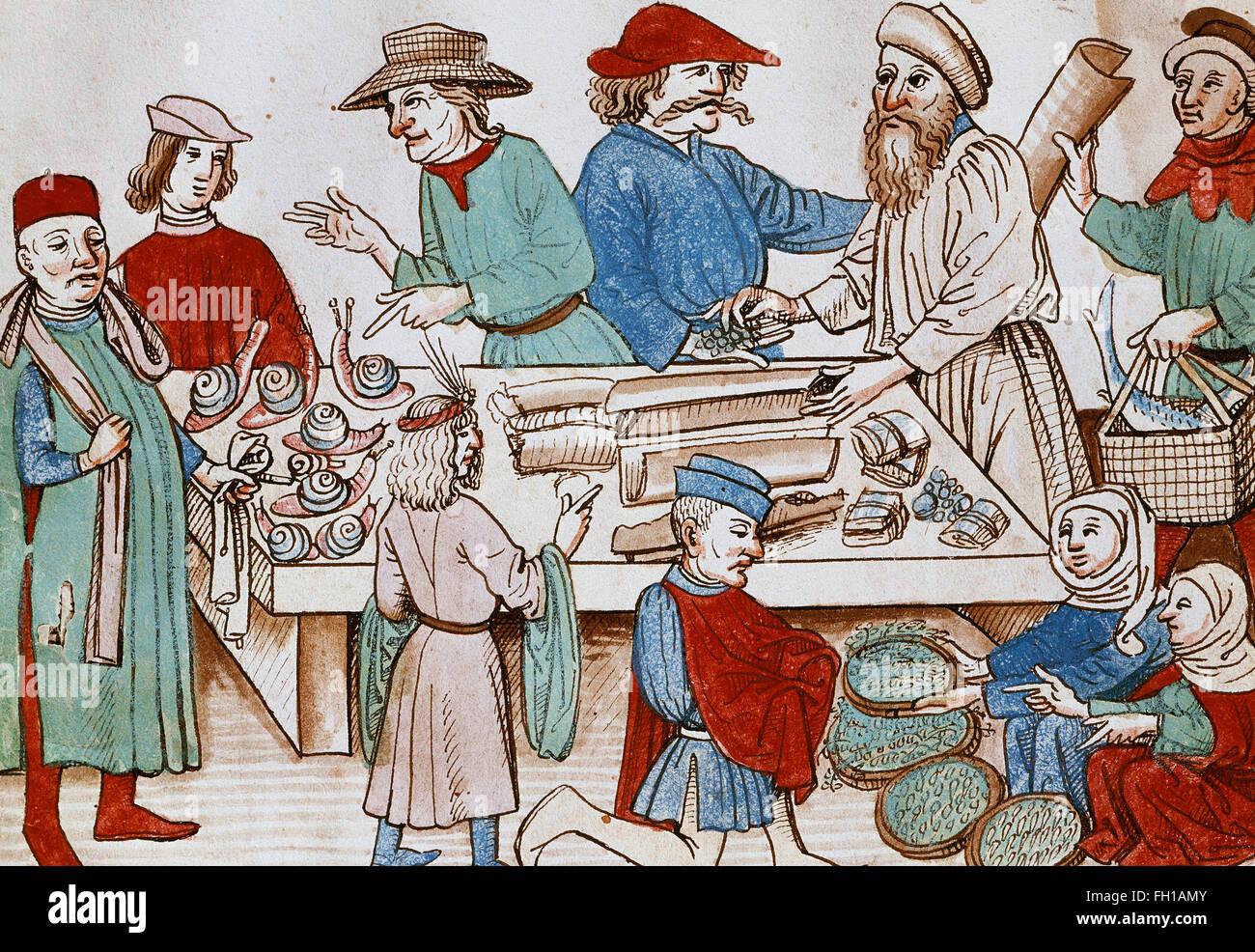 eine markt szene miniatur aus der chronik von ulrich von richenthal 1438 nationalbibliothek. Black Bedroom Furniture Sets. Home Design Ideas