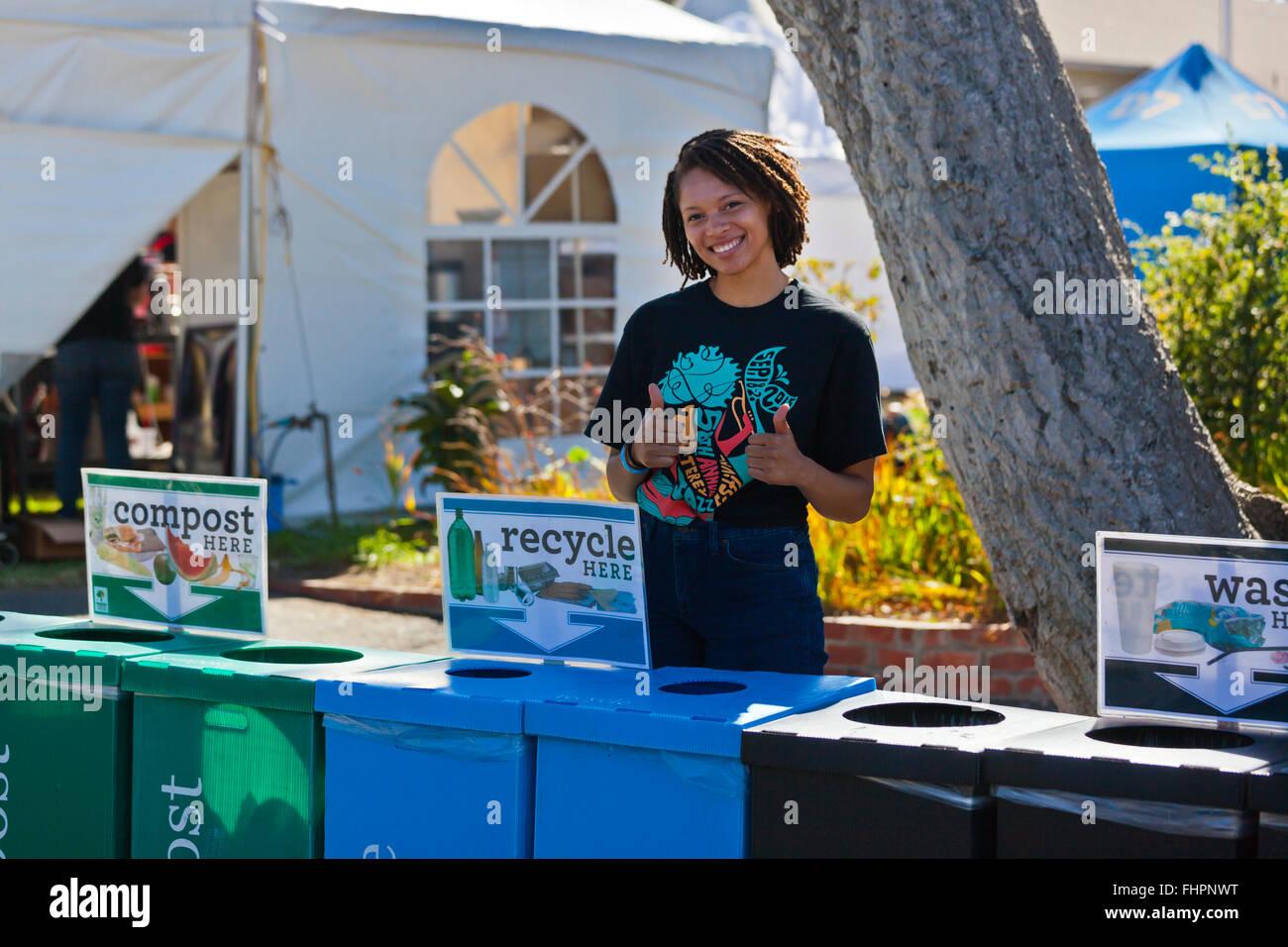 RECYCLING auf dem Gelände am auf dem Monterey Jazz Festival - California Stockbild