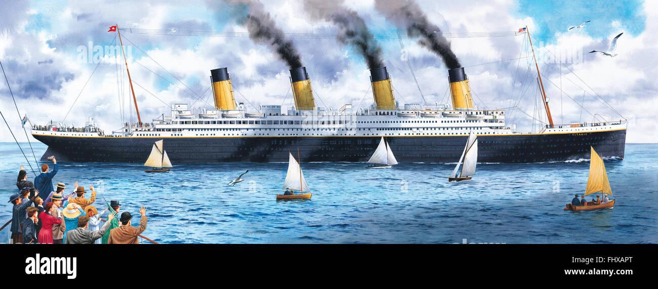 Eine Illustration der Titanic Aufrechnung zu segeln. Stockbild