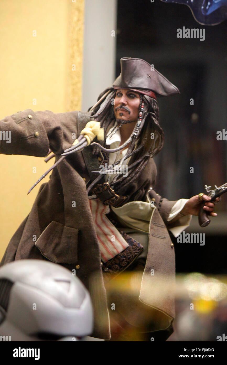 """Figur des Piratenkapitaens """"Jack Sparrows"""" (Gespielt von Johnny Depp """"aus""""Fluch der Karibik""""(Pirates Stockbild"""