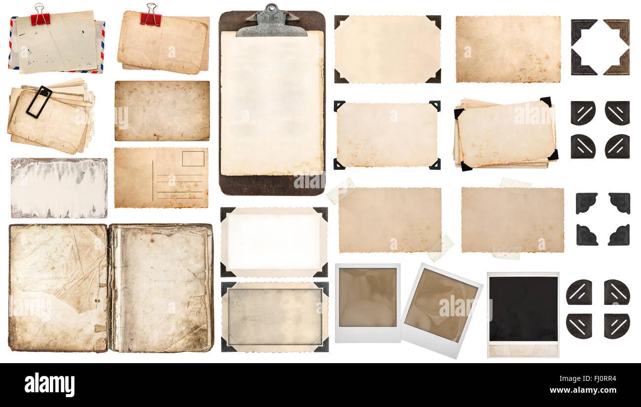 Papier, Buch, alte Bilderrahmen und Ecken, antike Zwischenablage ...