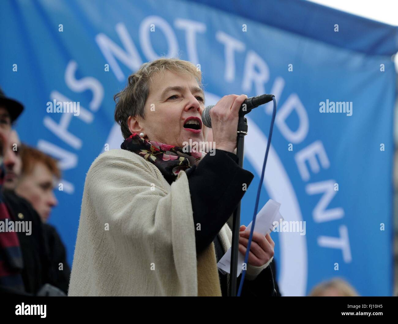 CND Anti Trident Protestkundgebung, London, UK. Kate Hudson CND Stockbild