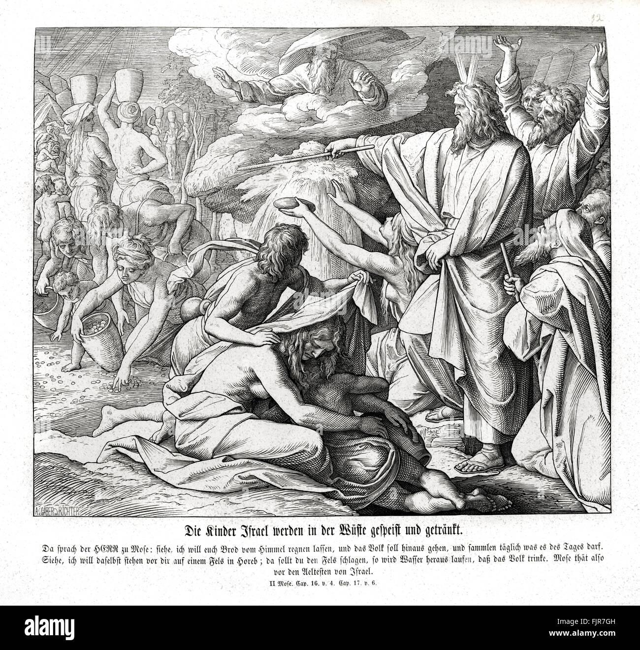 """Die Israeliten bekommen Essen und trinken in der Wüste, Exodus Kapitel XVI Vers 4 """"dann sagte der Herr Stockbild"""