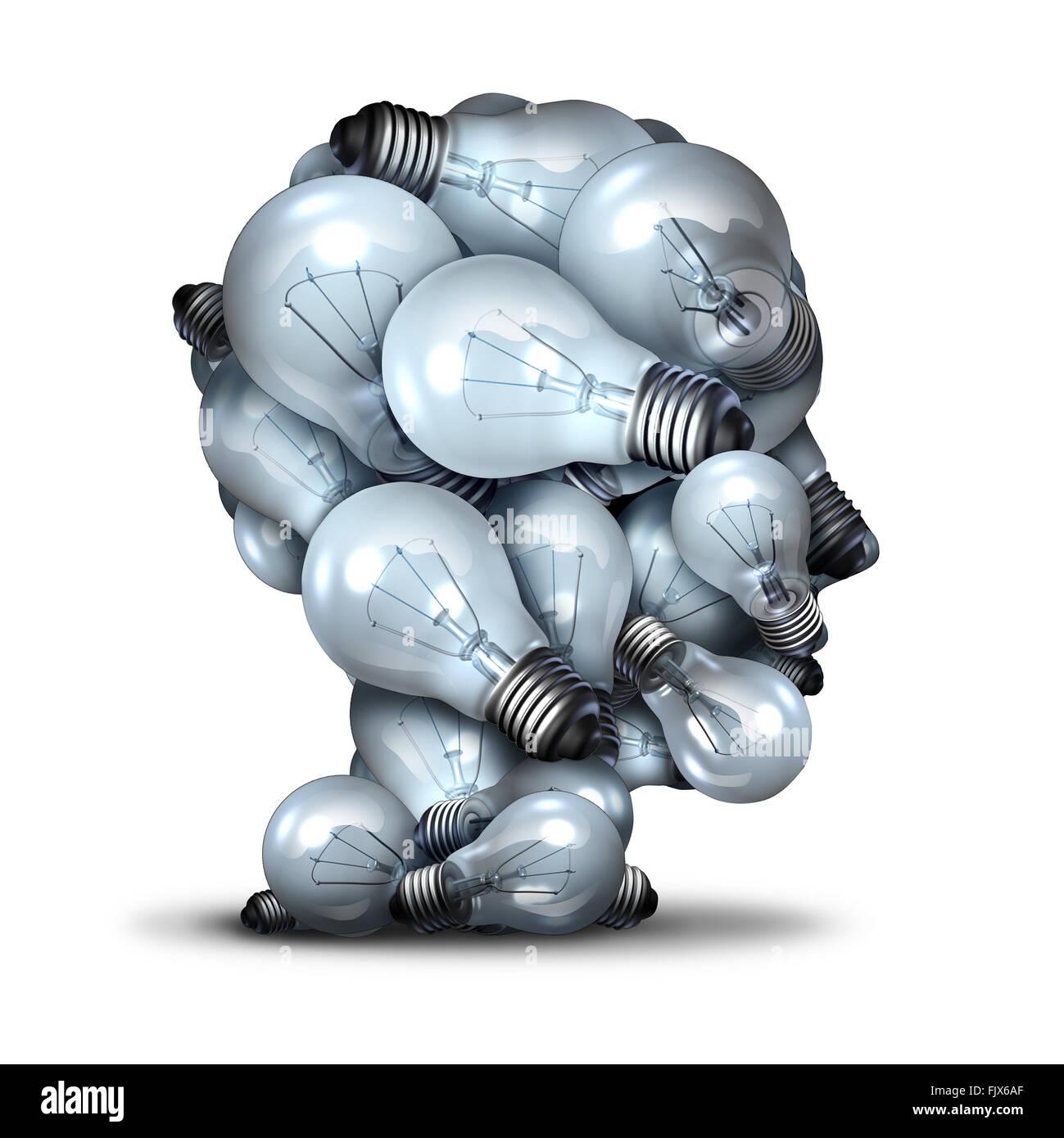 Glühbirne Kopf Kreativität und die Macht der Phantasie-Konzept als eine Gruppe von Glühbirnen als Stockbild