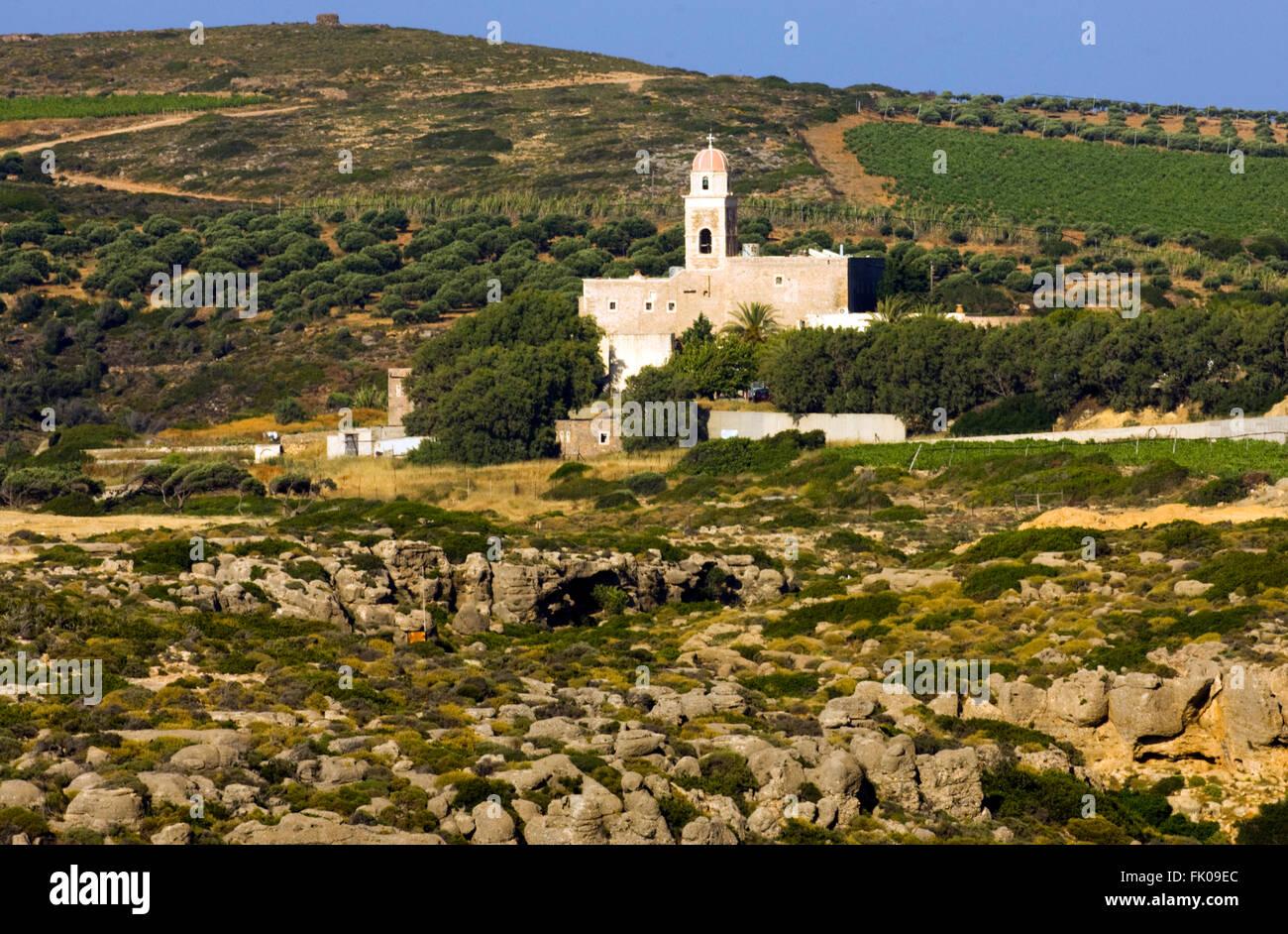 "Griechenland, Kreta, Sitia, Kloster Toplou (Toplu), der Name Bedeutet Wörtlich ""Mit der Kanonenkugel"". Stockbild"
