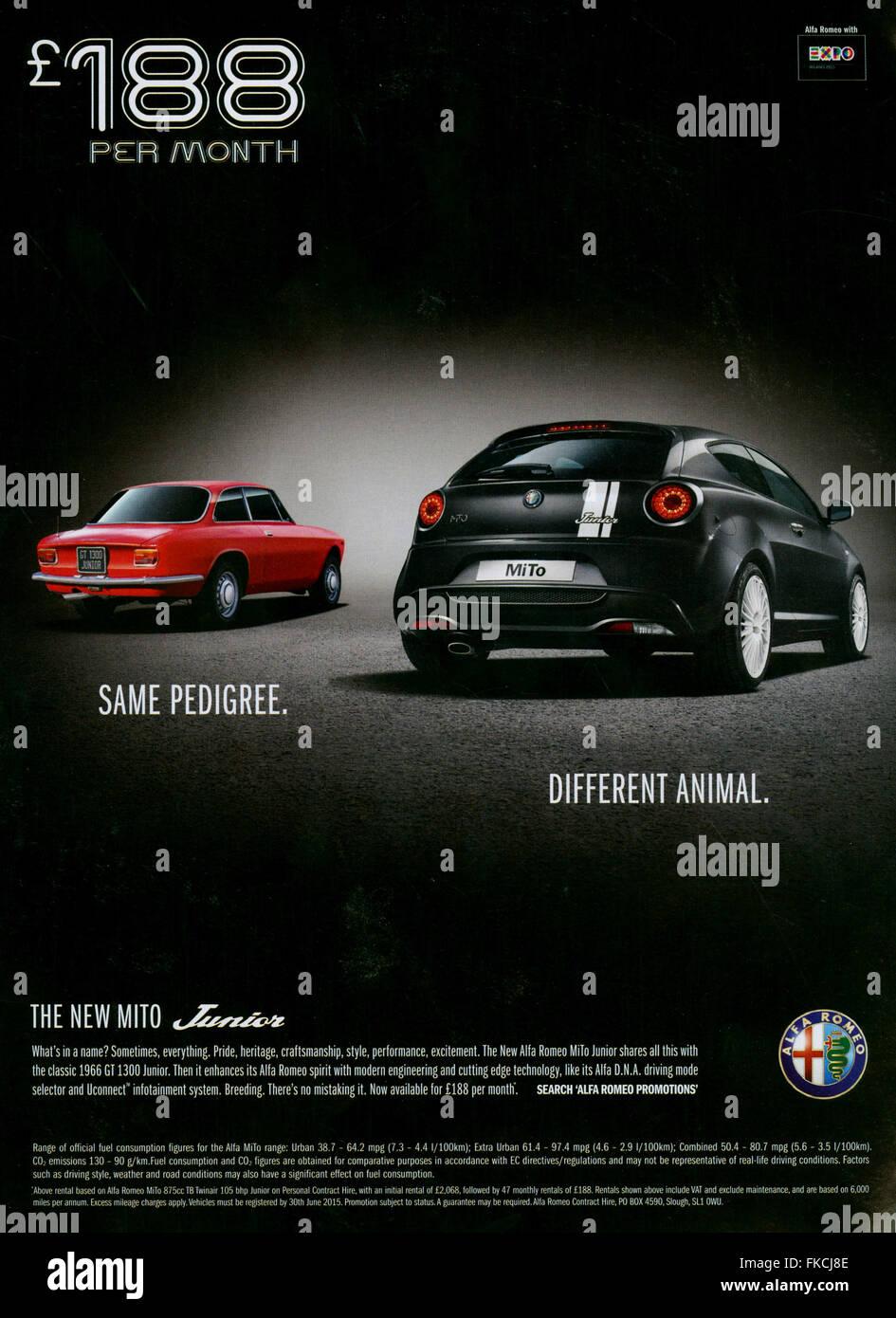 2010er Jahre UK Alfa Romeo Magazin Anzeige Stockbild
