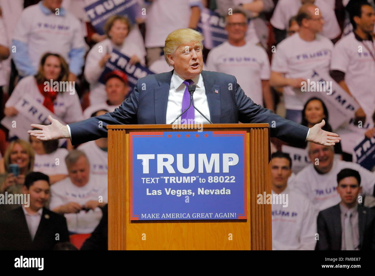 Republikanische Präsidentschaftskandidat Donald Trump Kampagne Rallye im South Point Arena & Casino in Stockbild