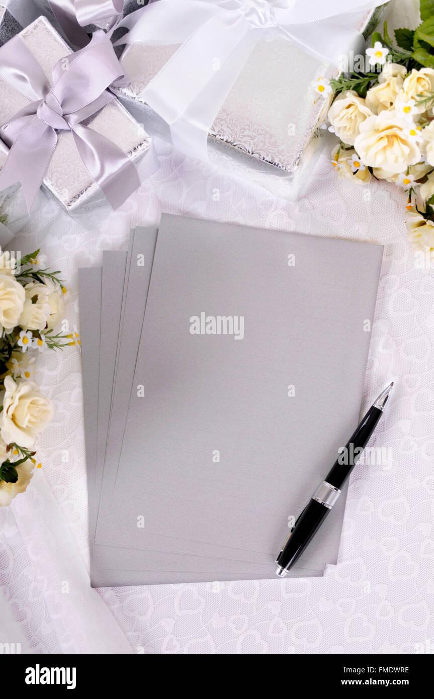 Silber Grau Schreibpapier Oder Einladungen Auf Braut Spitze Mit