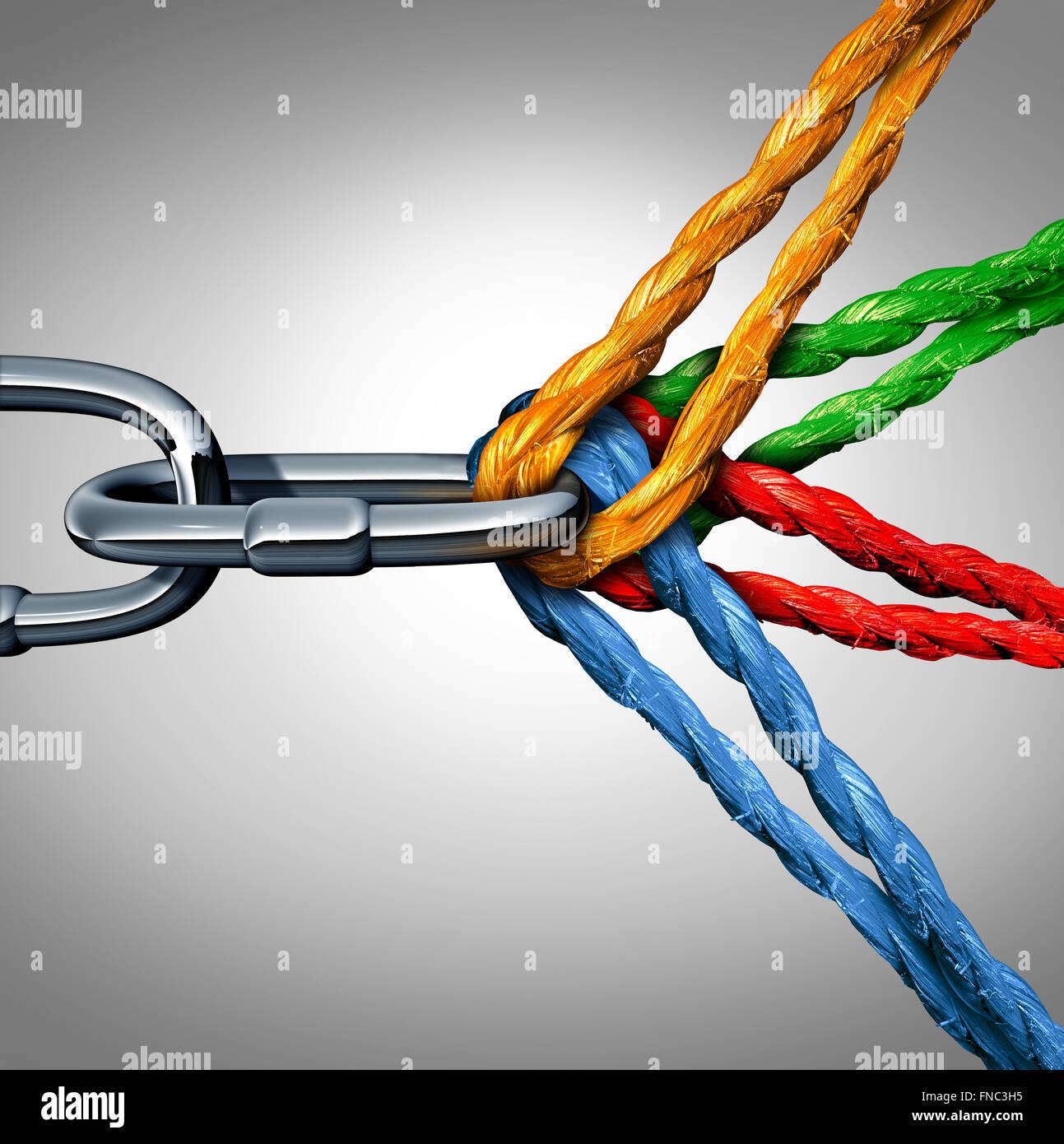 Konzept der Verbindung als verbundene Gruppe Symbol mit verschiedenen Seilen gefesselt und verlinkt auf einem Metall Stockbild