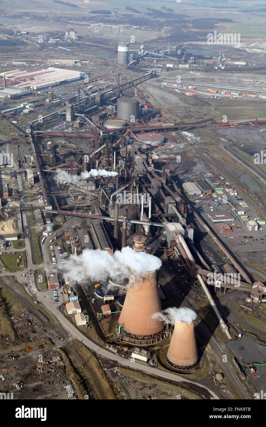 Luftaufnahme der British Steel Tata Stahlwerke in Scunthorpe, Lincolnshire, UK Stockbild