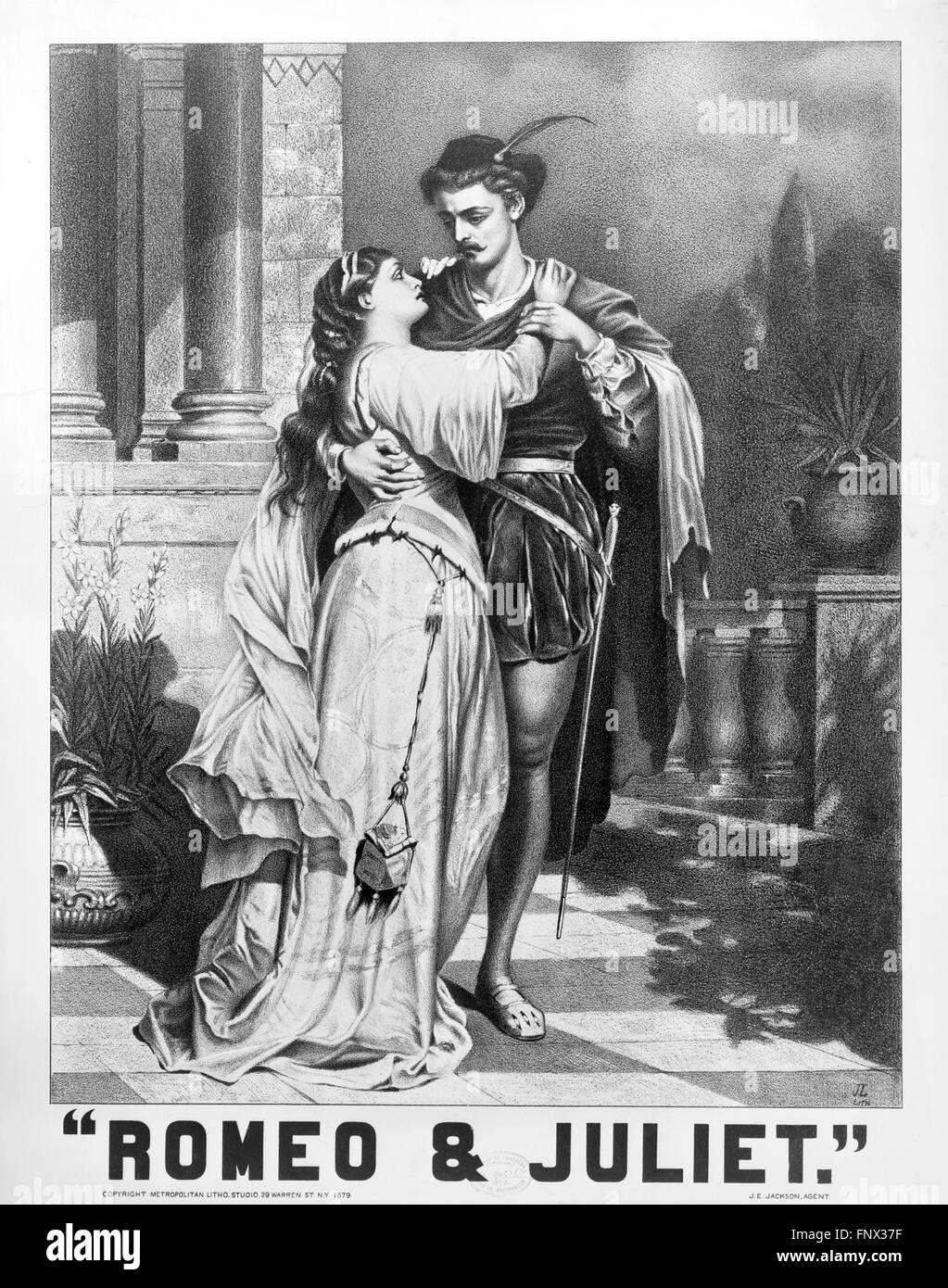 """Ein 19-Plakat Werbung für Shakespeares """"Romeo und Julia"""". Metropolitan Litho Studio, 1879. Stockbild"""