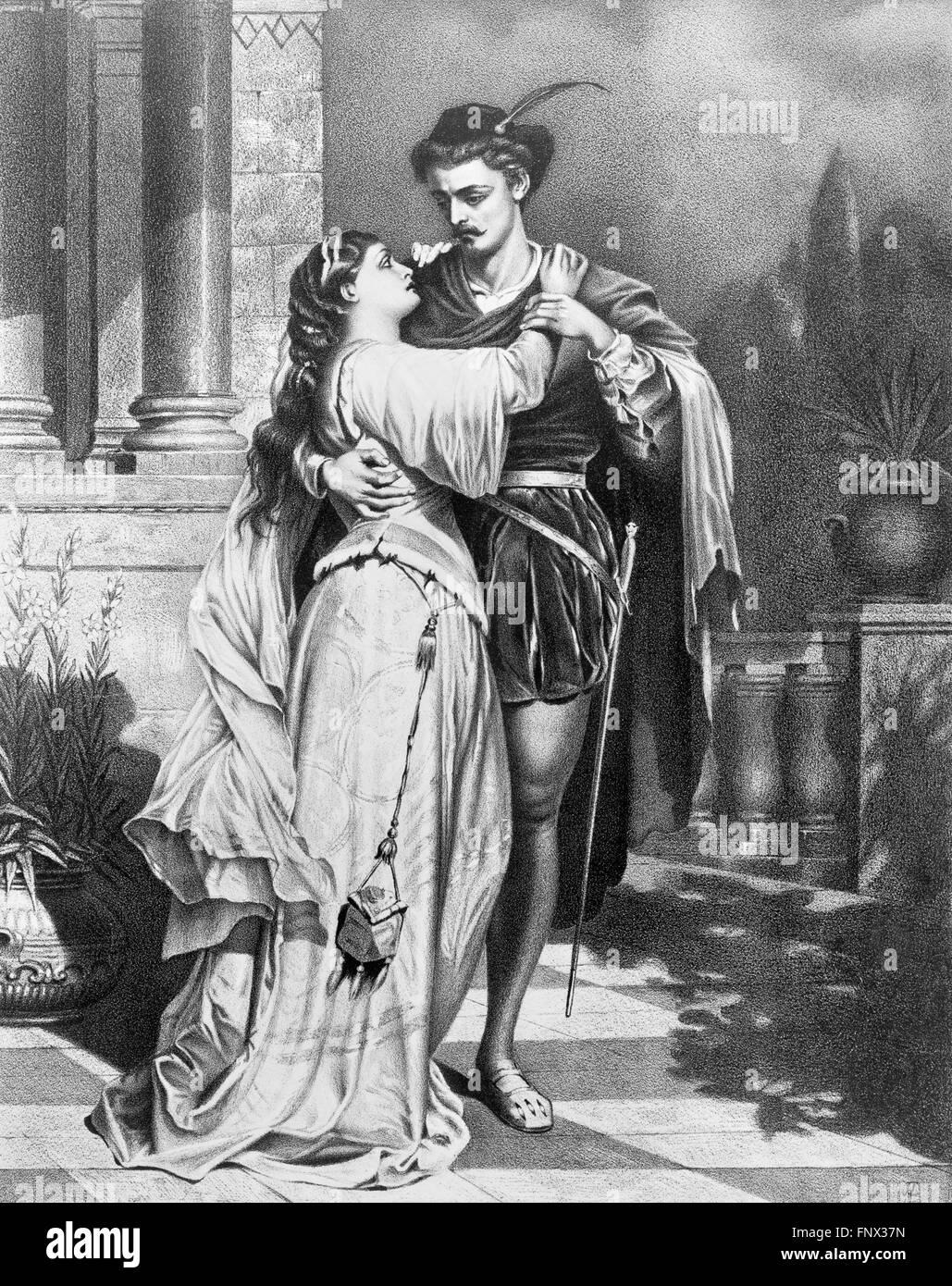 """Romeo und Julia. Ein 19-Plakat Werbung für Shakespeares """"Romeo und Julia"""", 1879. Stockbild"""