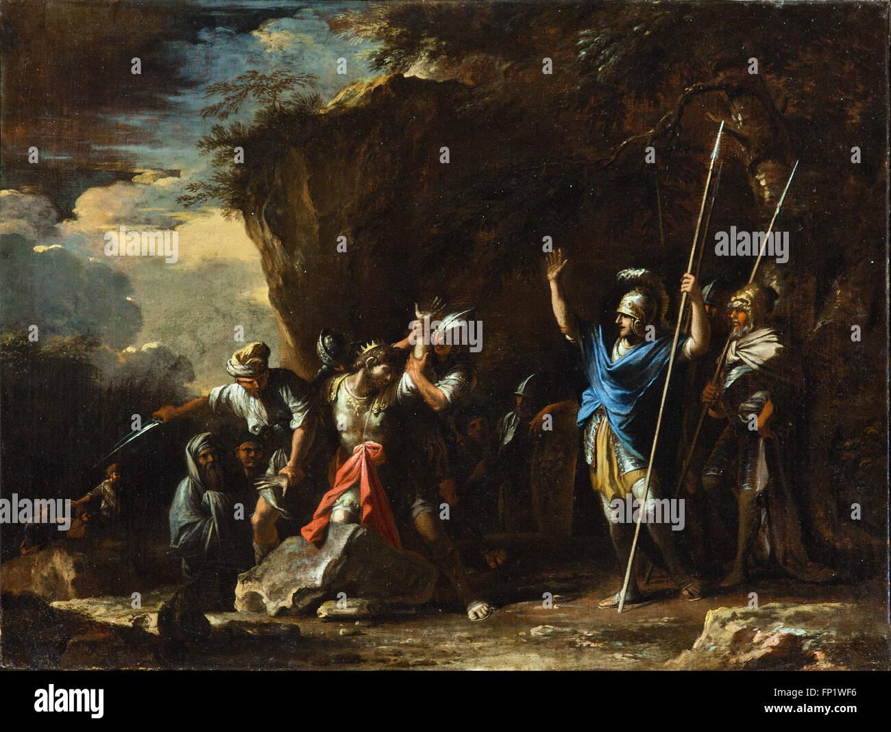 Salvator Rosa - Szene aus der griechischen Geschichte-die stummen Sohn von König Croesus Stockbild