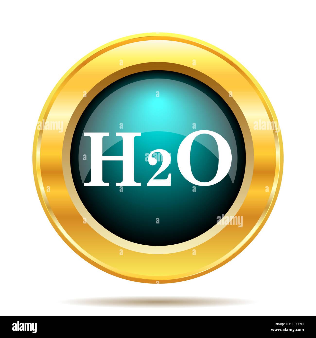 H2O-Symbol. Internet-Button auf weißem Hintergrund. Stockbild