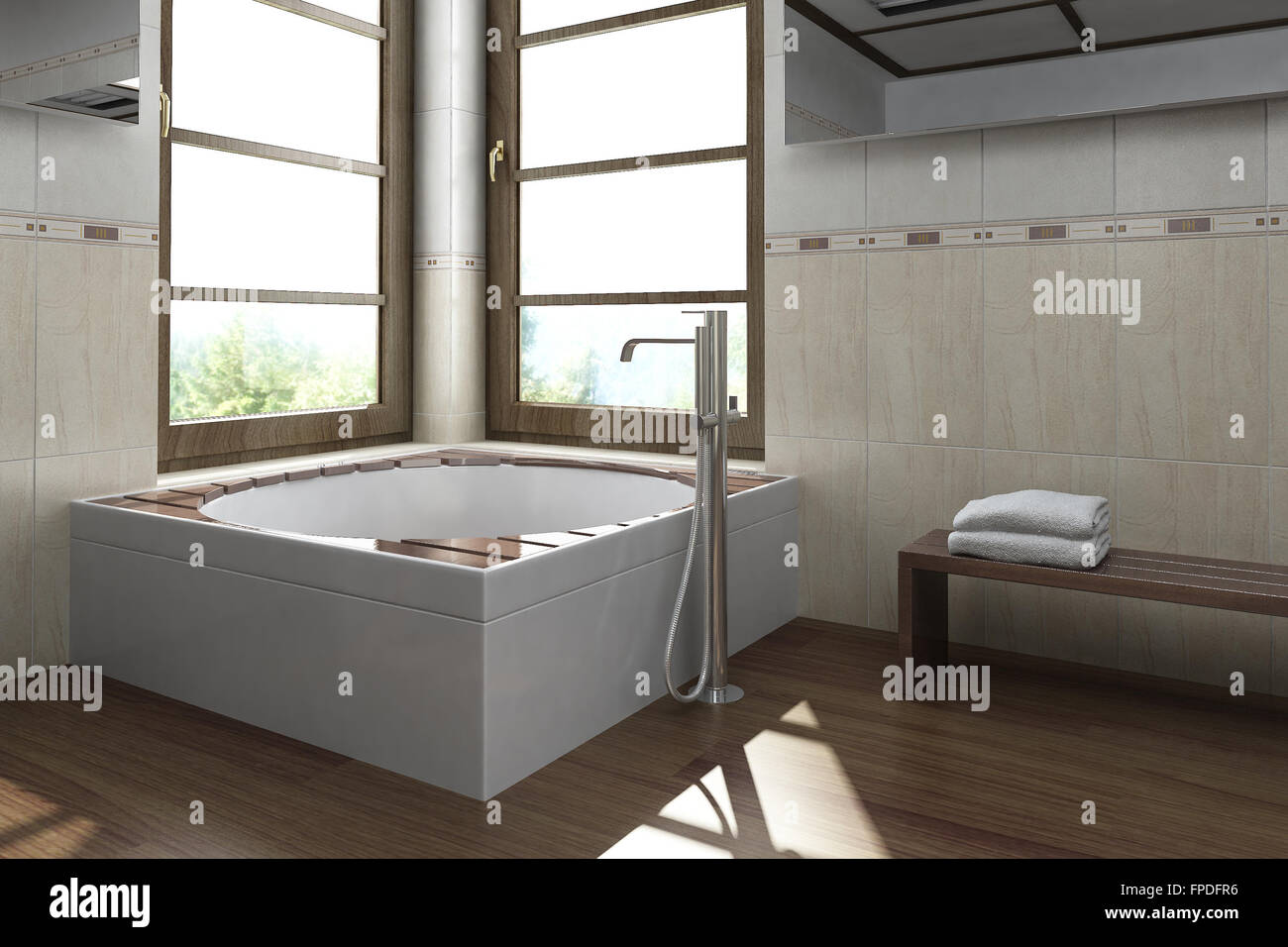 Modernes Innendesign Bad (Badezimmer). 3D-Rendering Stockfoto, Bild ...