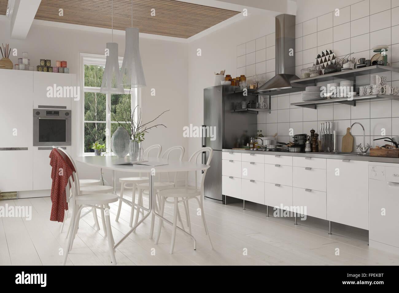 Große rustikale Leben in Küche mit Tisch und Stühlen, weißen Holz ...