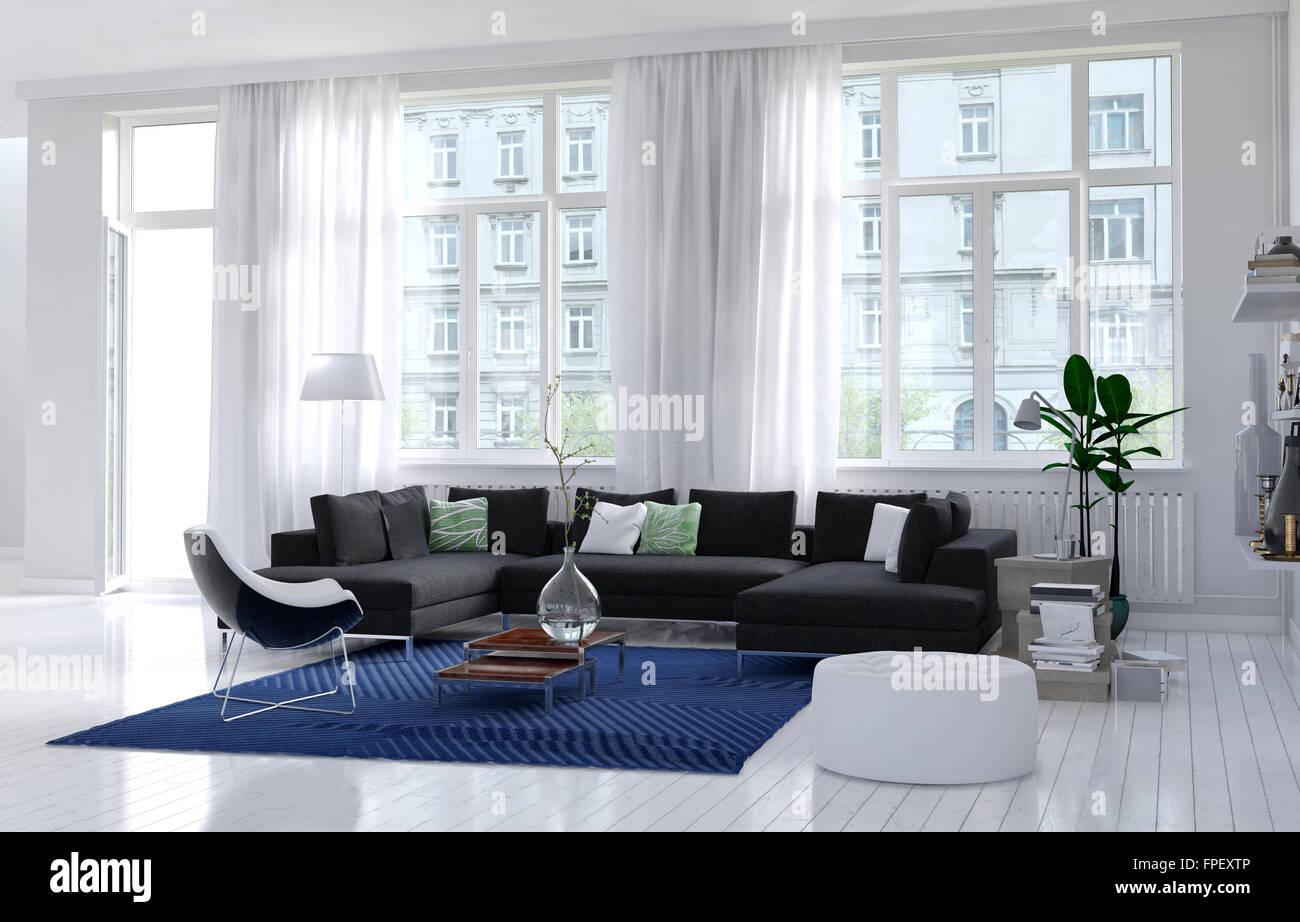 Komfortable moderne Wohnzimmer Interieur mit einfarbig weiße Wände ...