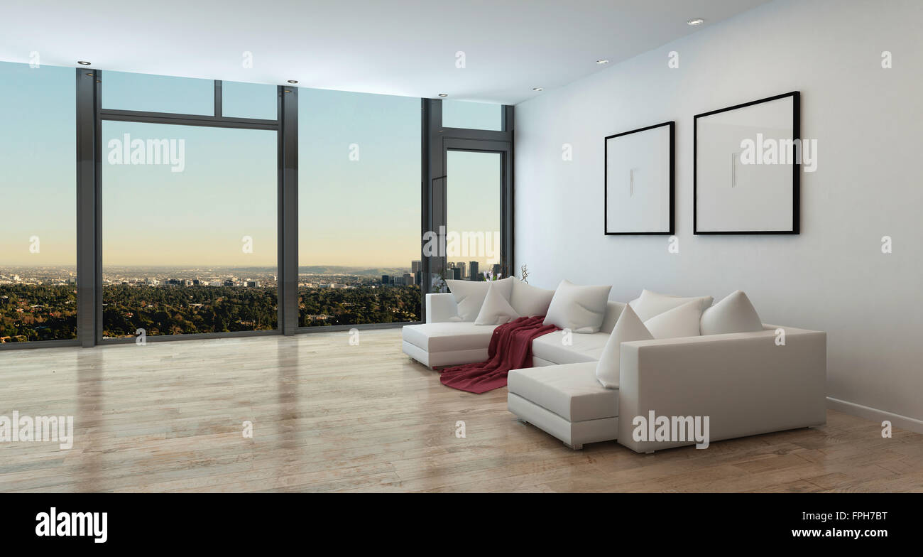panorama high rise wohnung interieur mit blick auf weitl ufige stadt wohnzimmer in. Black Bedroom Furniture Sets. Home Design Ideas