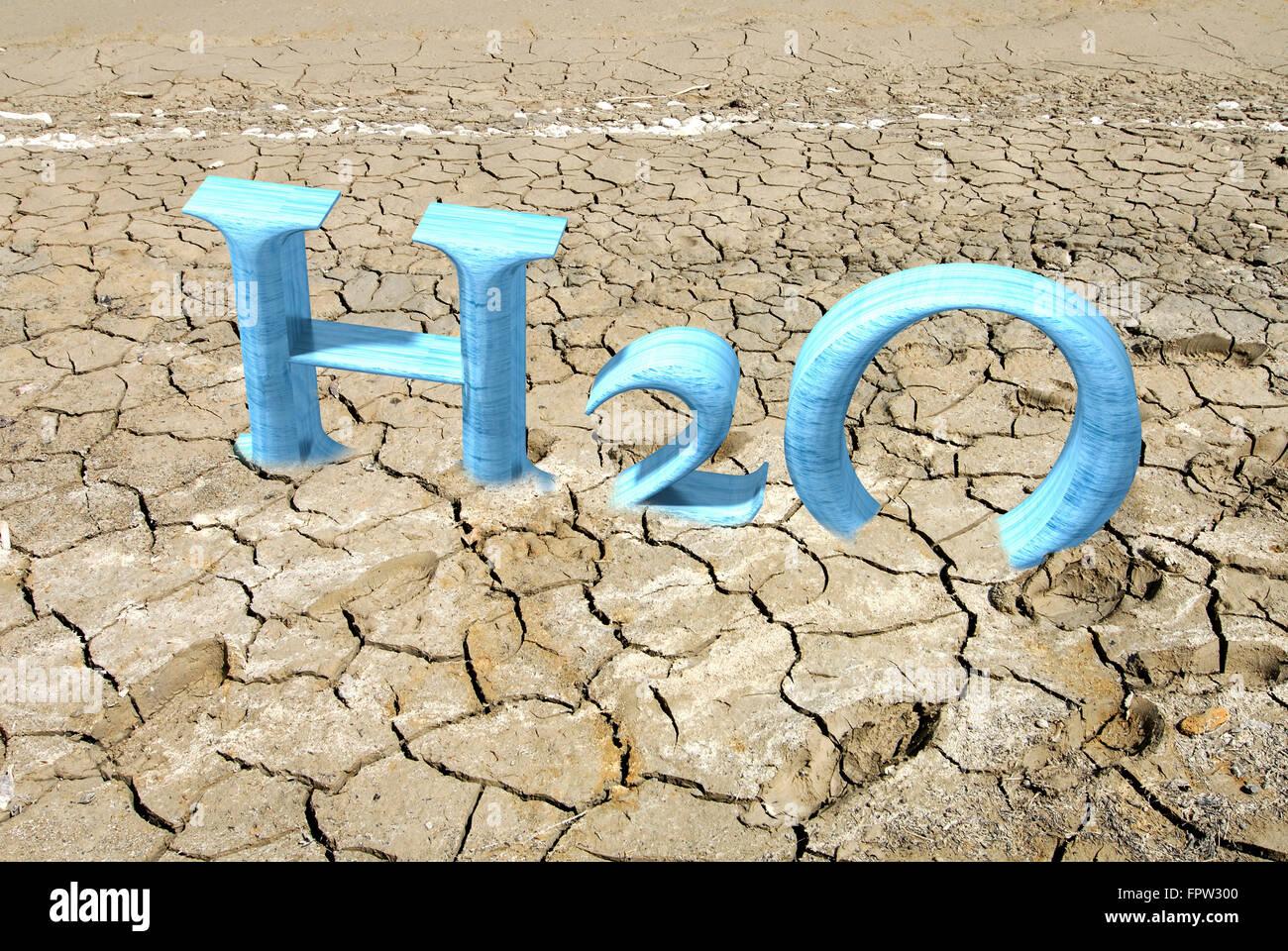 CGI Buchstaben H2O rissigen Boden, 3D-Grafik, symbolisches Bild für Dürre Stockbild