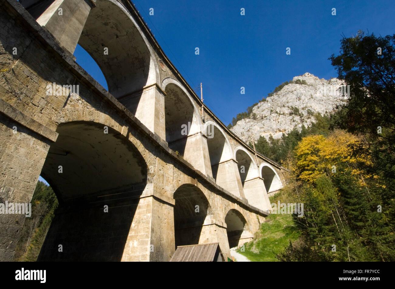 Österreich, Semmering, Semmeringbahn, Viadukt Kalte Rinne 2 Stockbild