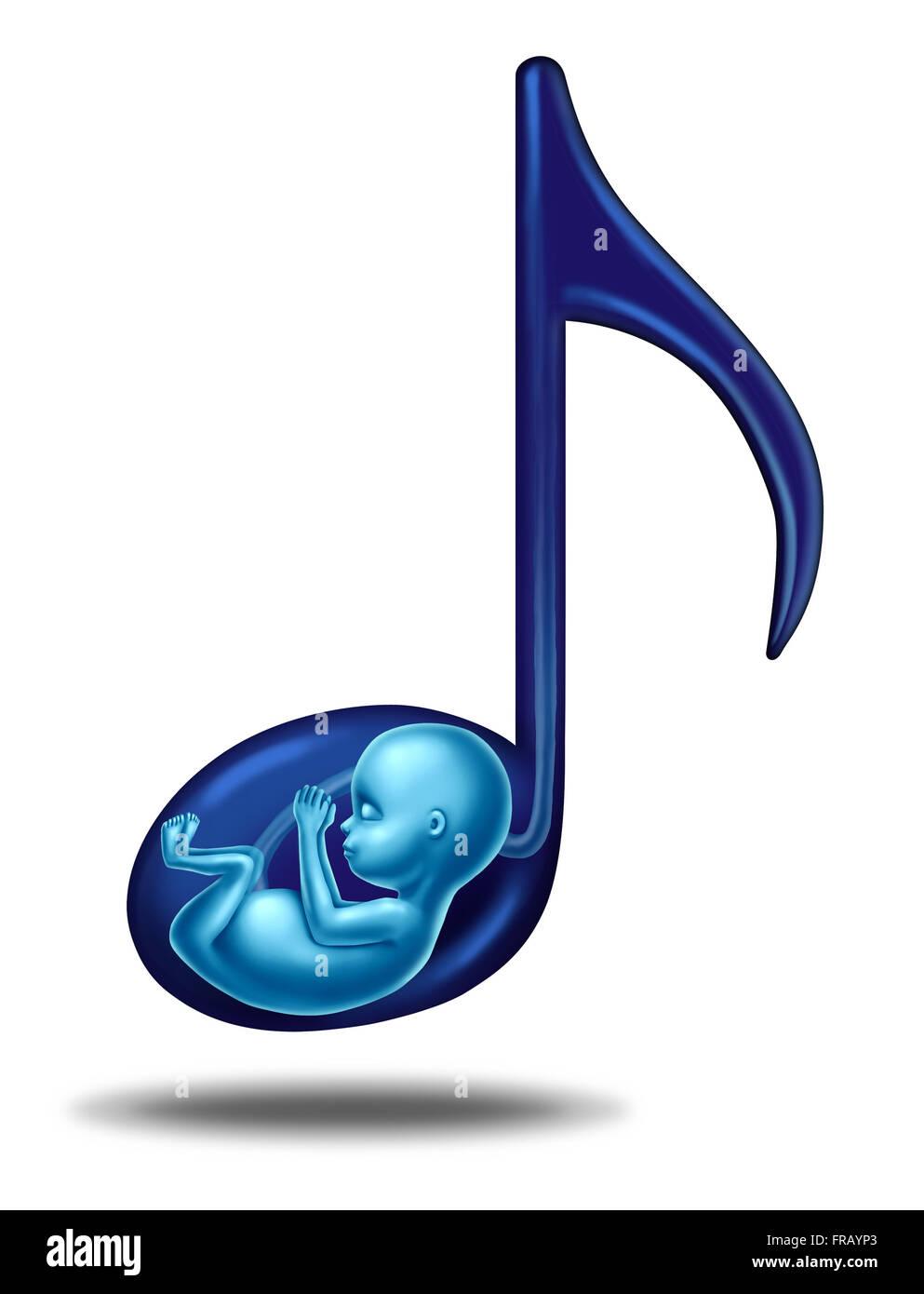 Schwangerschaft-Musik und pränatale hören Lieder Konzept für ein Fötus, die in der Gebärmutter Stockbild