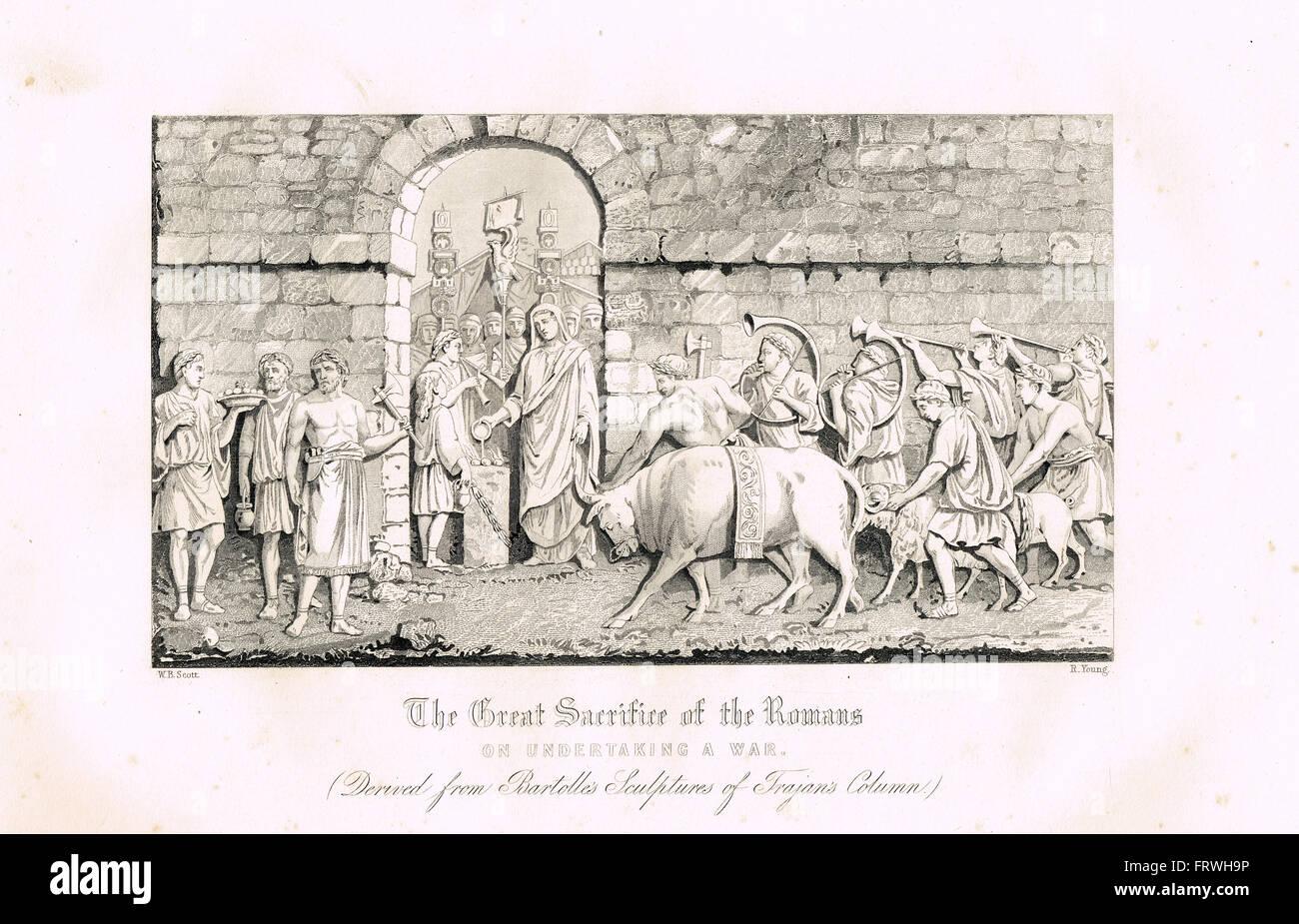 Großes Opfer von den Römern auf den Krieg vorbereiten.  Dacian Kriege, Kaiser Trajan Stockbild
