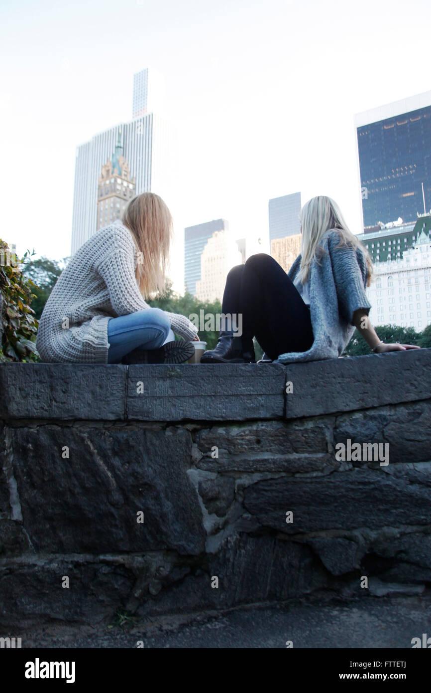Zwei junge Frauen sitzen im Central Park im Herbst Stockbild