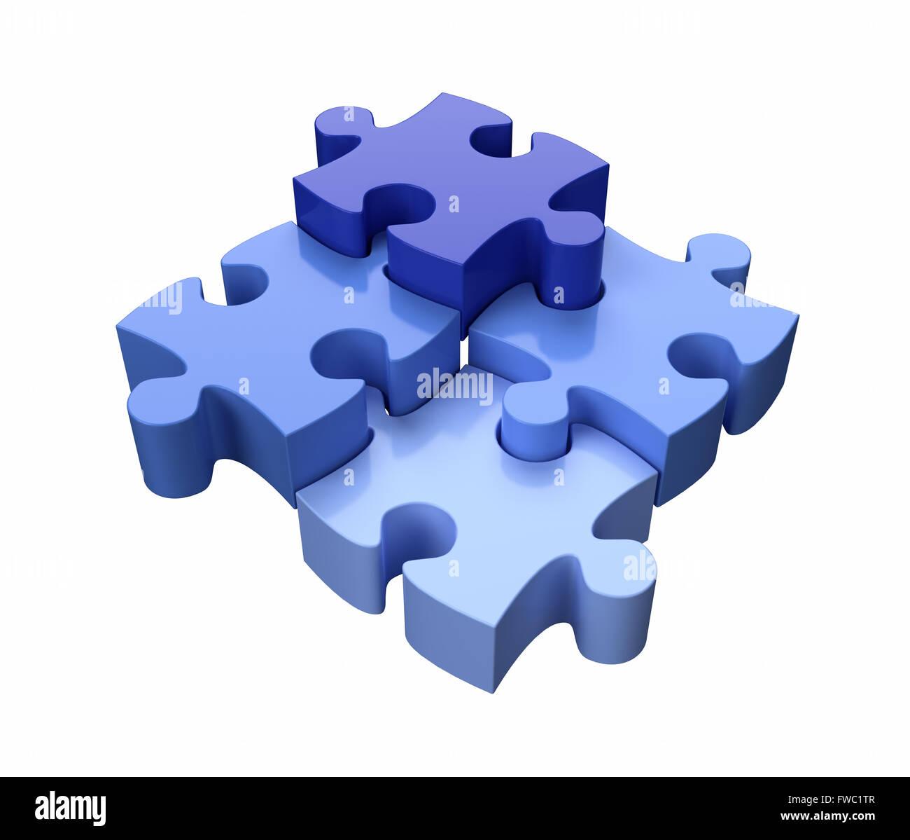 Vier Jigsaw Puzzle Stücke blau auf weißem Hintergrund Stockbild
