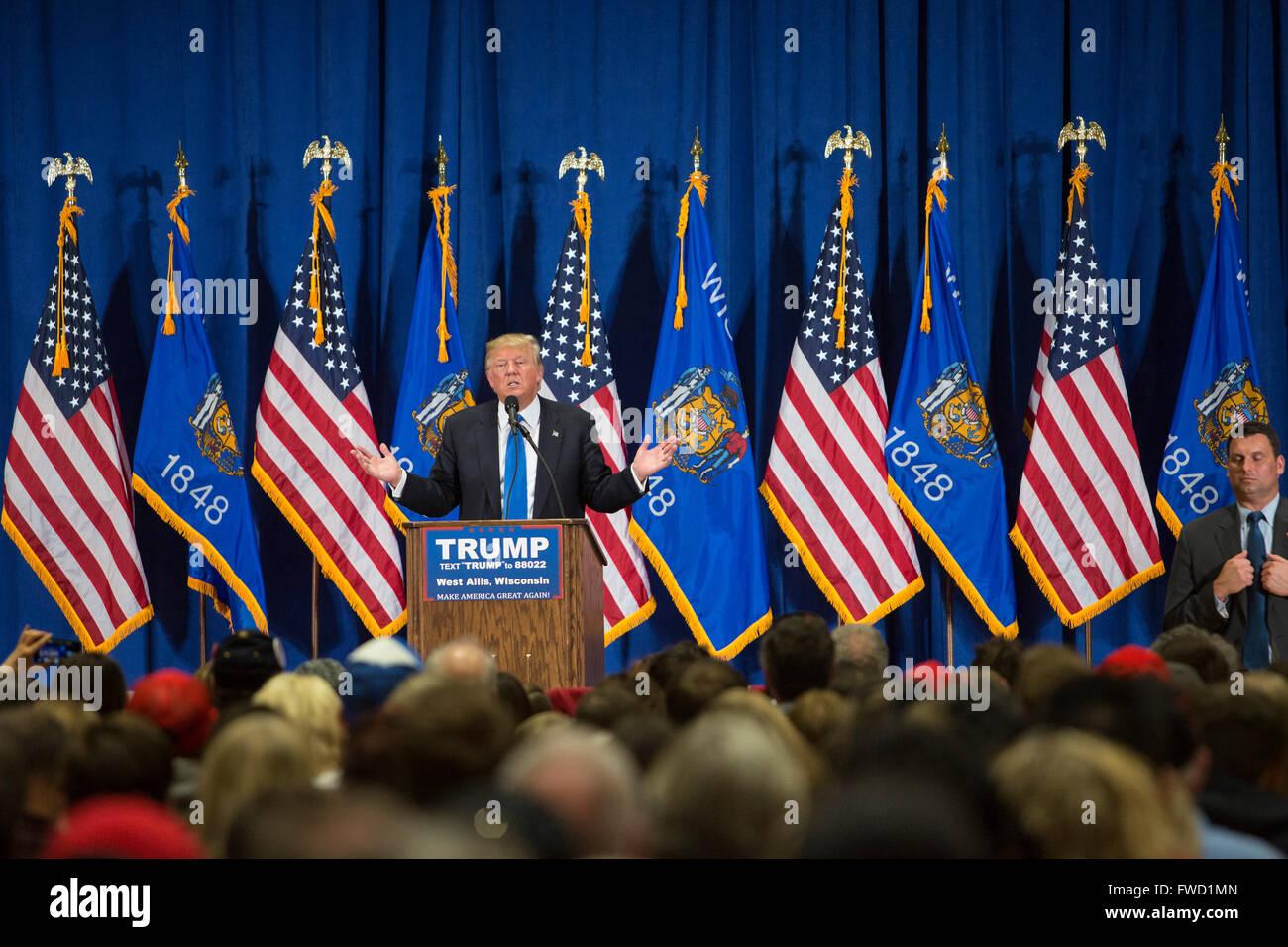 West Allis, Wisconsin USA - 3. April 2016 - Donald Trump Kampagnen für die republikanische Nominierung zum Stockbild