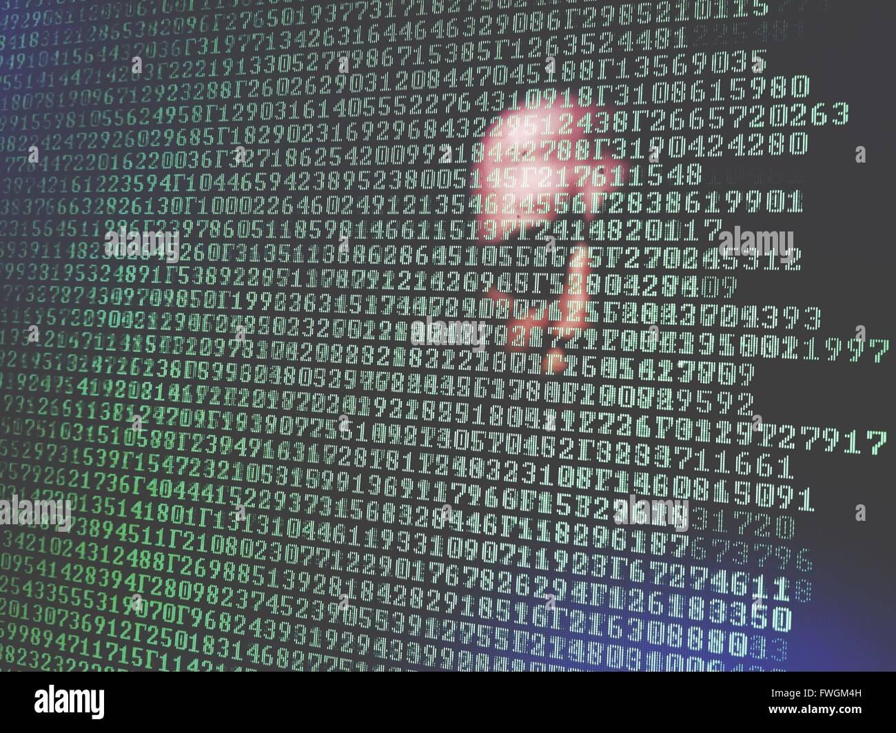 Menschliches Gesicht mit grünen Zahlen Stockbild