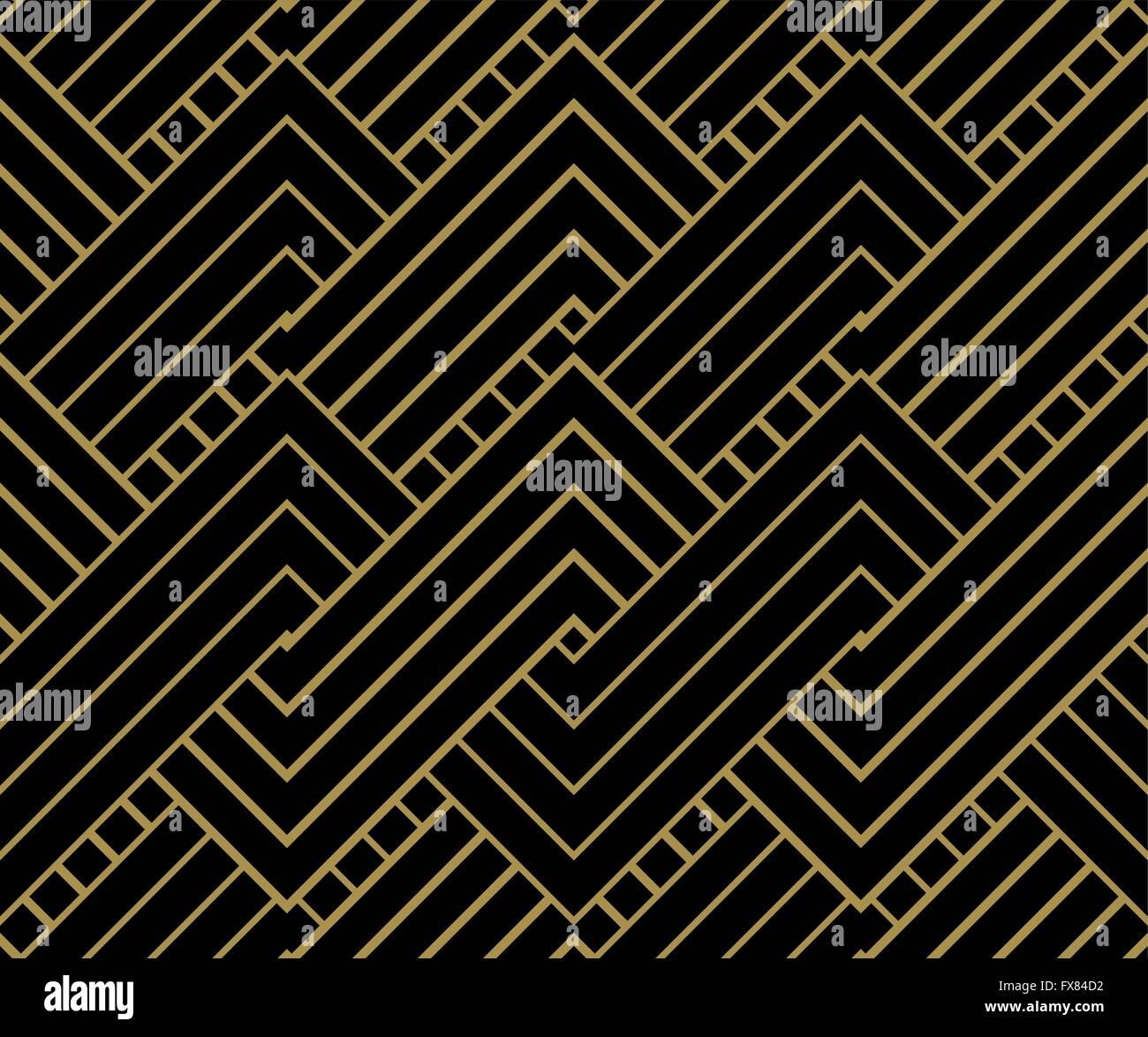 Geometrien Gold Hintergrund. Gestreifte Gold auf schwarz, geometrische Muster. Vektor-Illustration. Stockbild
