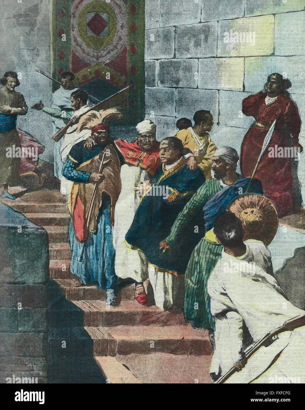 Der Konflikt am Hof in Addis Abeba: der alte und gebrechliche Menelik wird aus unterirdischen 1913 gerettet Stockbild