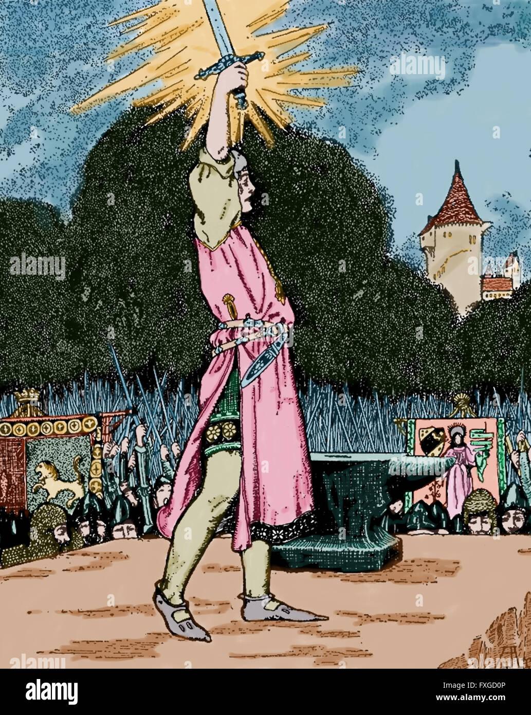Excalibur. Legendäres Schwert. Young-Arthur zieht das Schwert aus dem Stein. Gravur. Farbe. Stockbild
