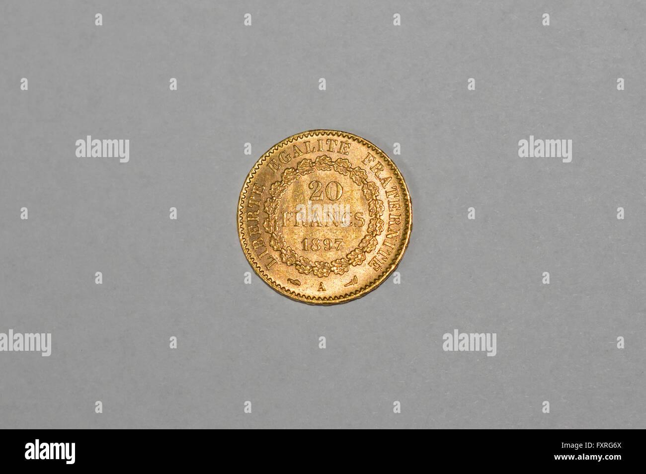 19 Jahrhundert Französisch 20 Franken Gold Münze Im Jahre 1897