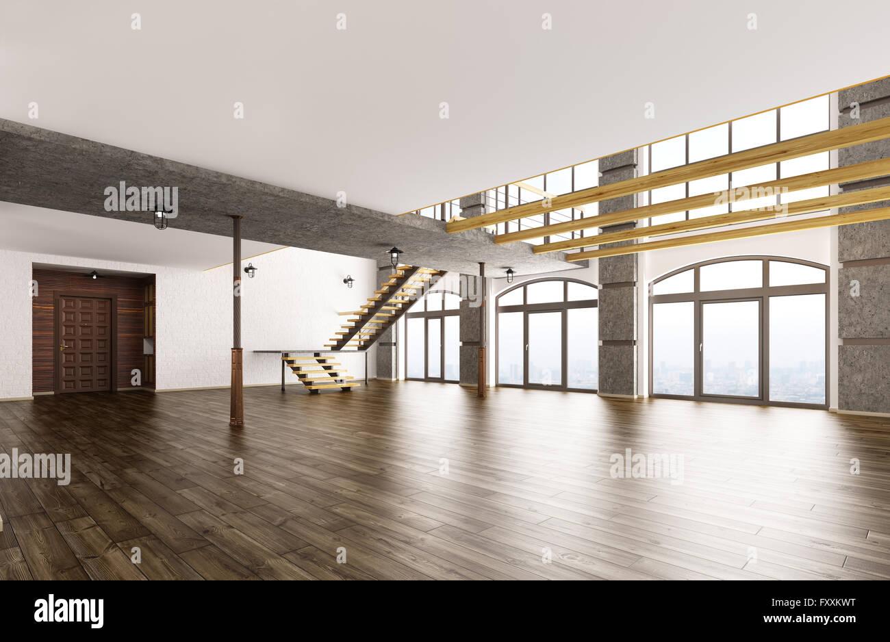 Leere Innenraum Des Loft Wohnung Wohnzimmer Wohnzimmer Flur Treppe,  3D Rendering