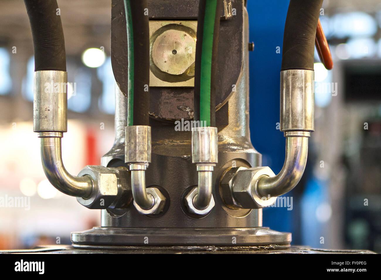 Elemente der Rohrleitungen Verbindungen Hydraulik und Pneumatik Stockbild