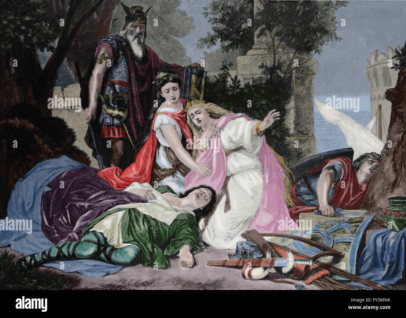 """Der Tod von Tristan. Deutschen Komponisten Richard Wagner 1813-1883. """"Tristan und Isolde"""". Gravur, um Stockbild"""