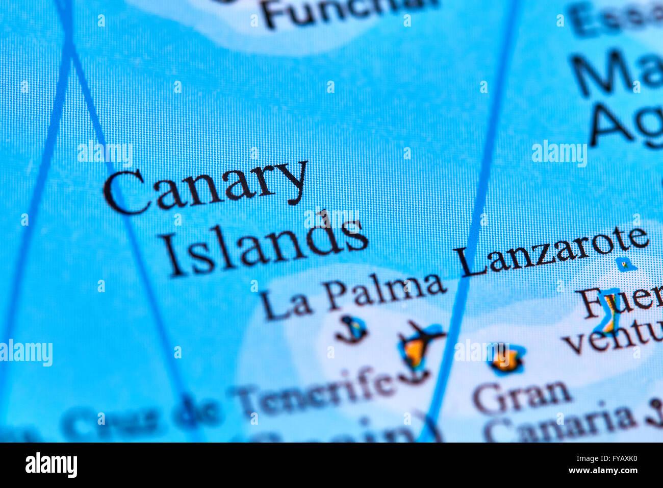 Kanarischen Inseln auf der Weltkarte Stockfoto
