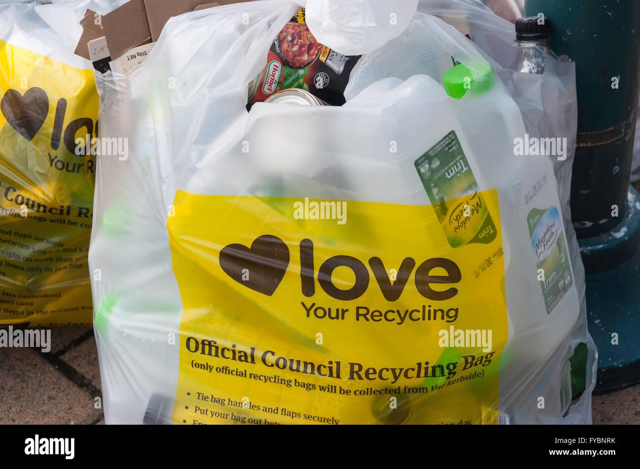 """""""Liebe Ihr recycling"""" Christchurch Council Tasche, Worcester Boulevard, Christchurch, Canterbury, Neuseeland Stockbild"""