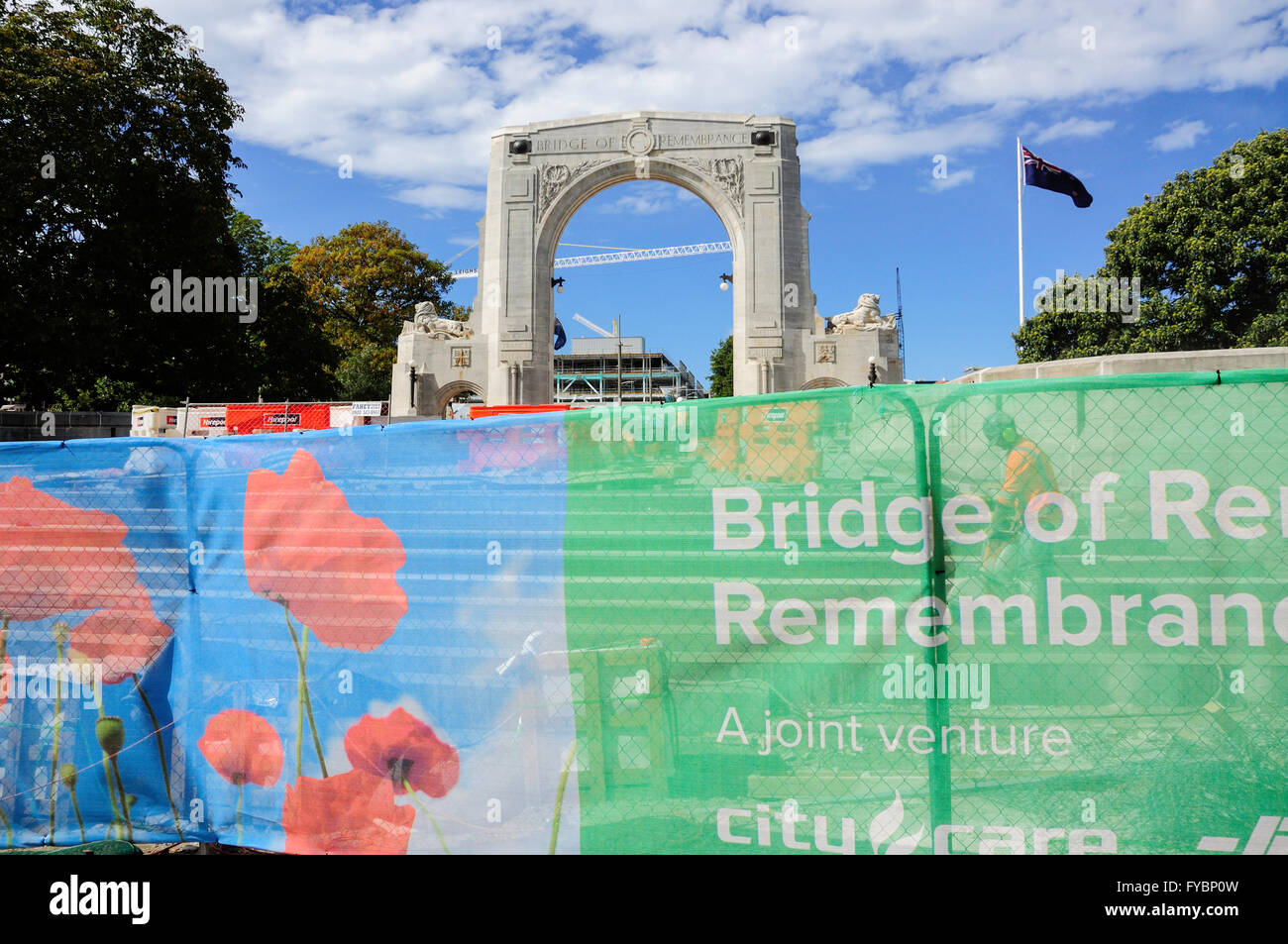 Wiederaufbau der Brücke der Erinnerung nach 2011 Erdbeben, Cashel Street, Christchurch, Canterbury, Neuseeland Stockbild