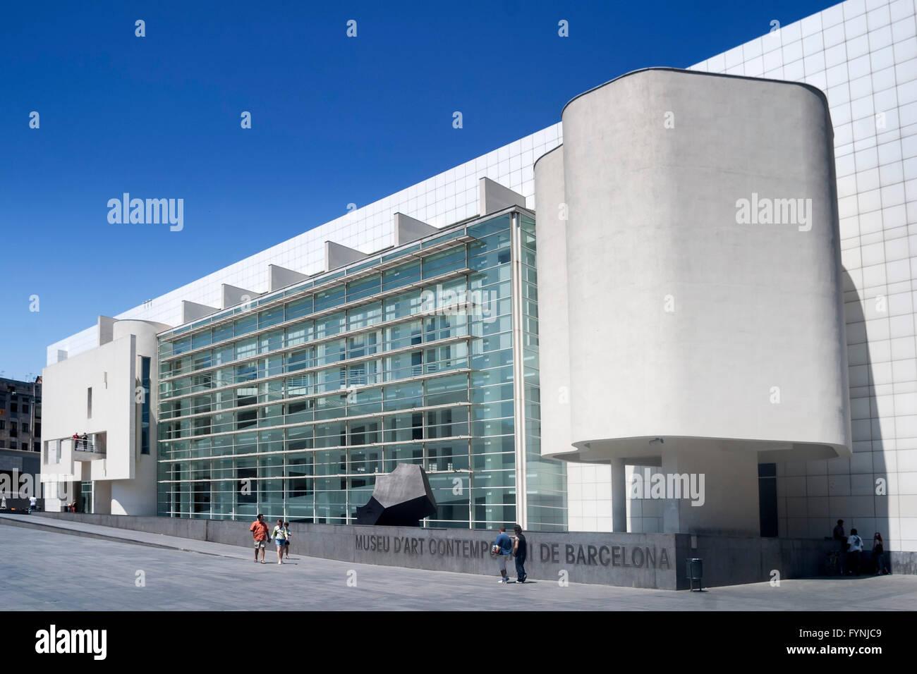 MACBA, Museum of Modern Art, Architekt Richard Meier, Square of Angels, Raval, Barcelona (nur zur redaktionellen Stockbild