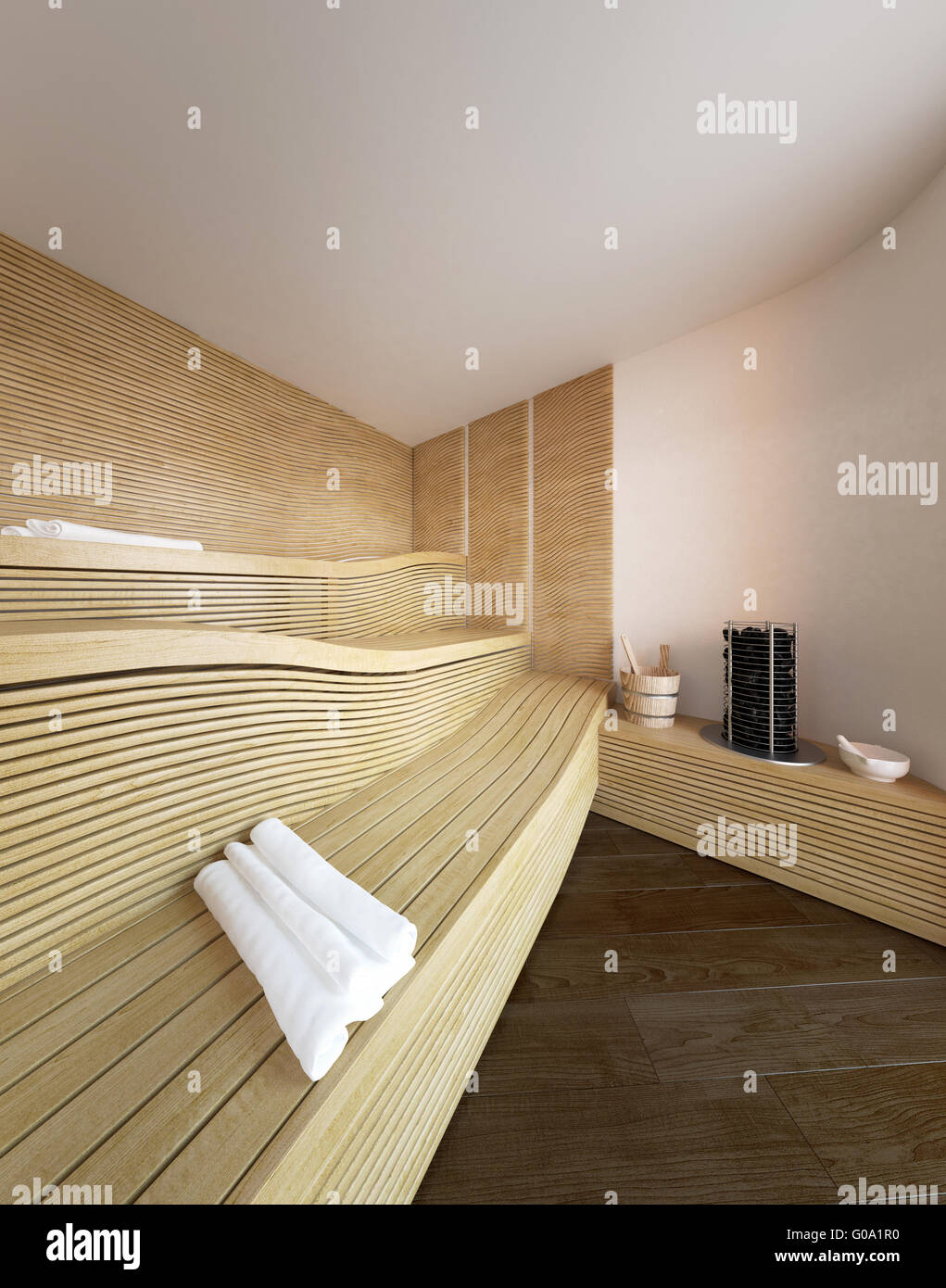Architektonische Interieur Des Modernen Sauna Im Luxus Haus Mit Wellig Aus  Holz Liege Sitzbänke Und Gewalzten Weiße Handtücher Für Die Gäste.  3D Rendering.