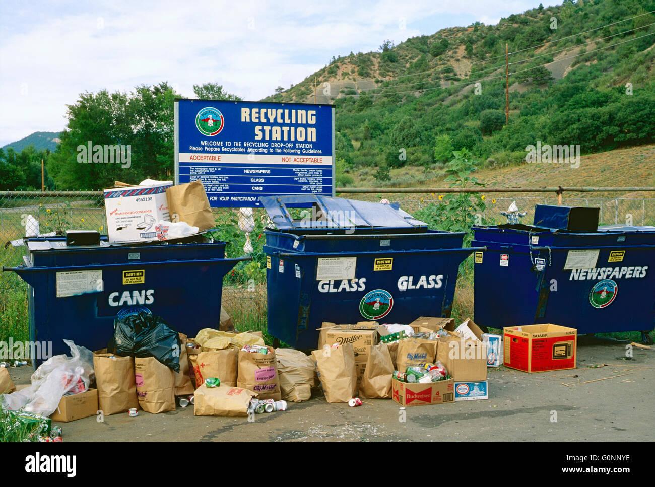 Verbraucher, die Recyclingstation; Durango; Colorado; USA Stockbild