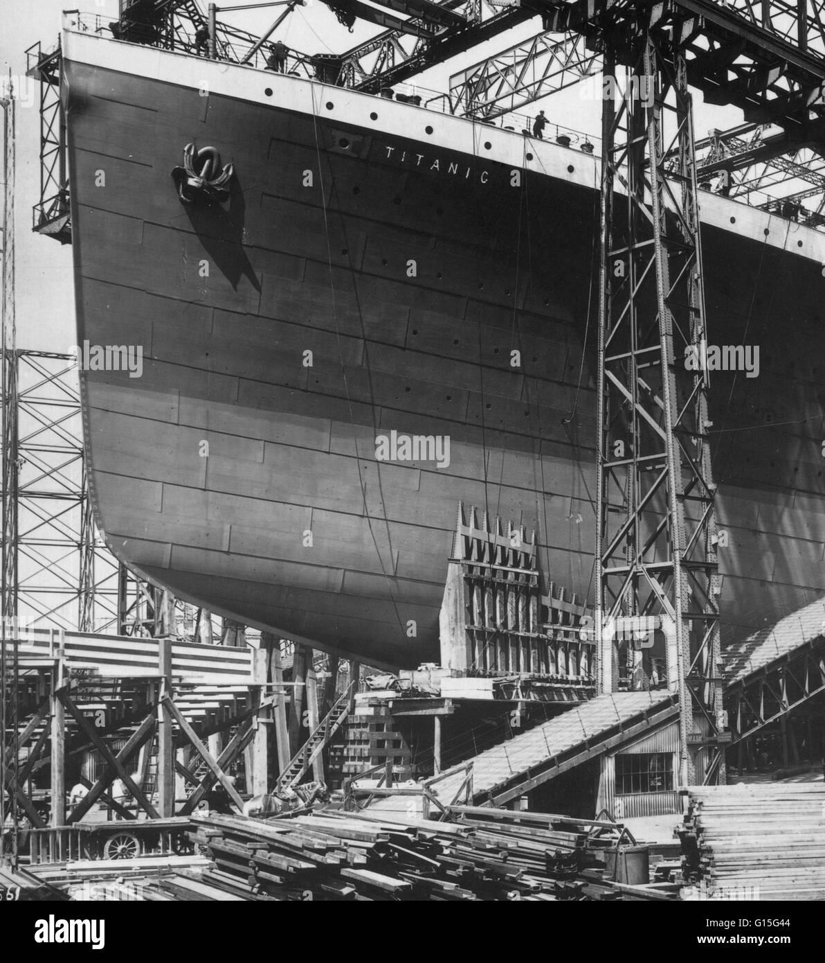 Das berühmte Titanic Dampfschiff bereit für den Start von Belfast, 1911. Stockbild