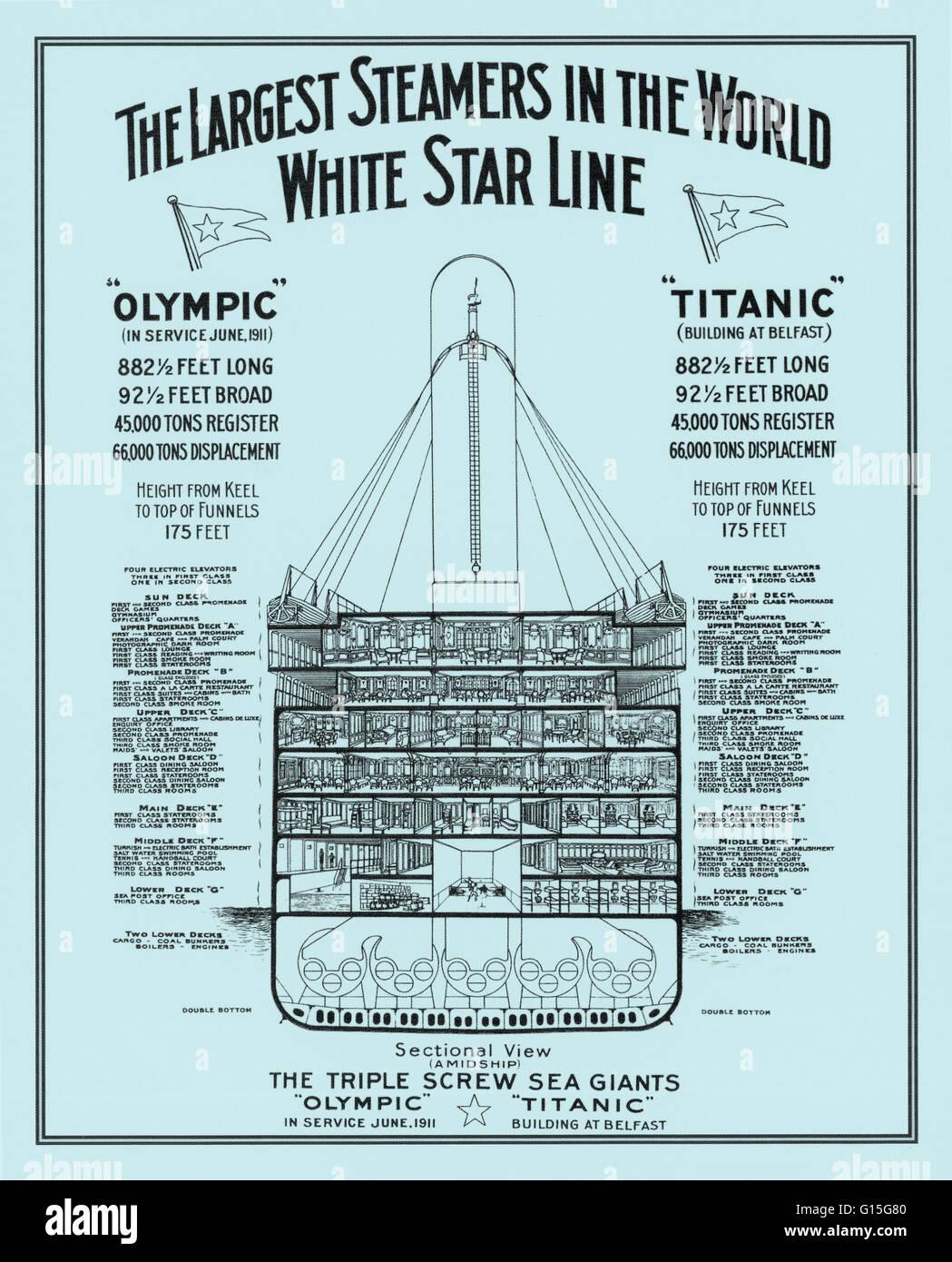 Querschnittsansicht der White Star Line Dampfer RMS Titanic und Olympic, RMS zeigt die Decks und Angaben. Stockbild